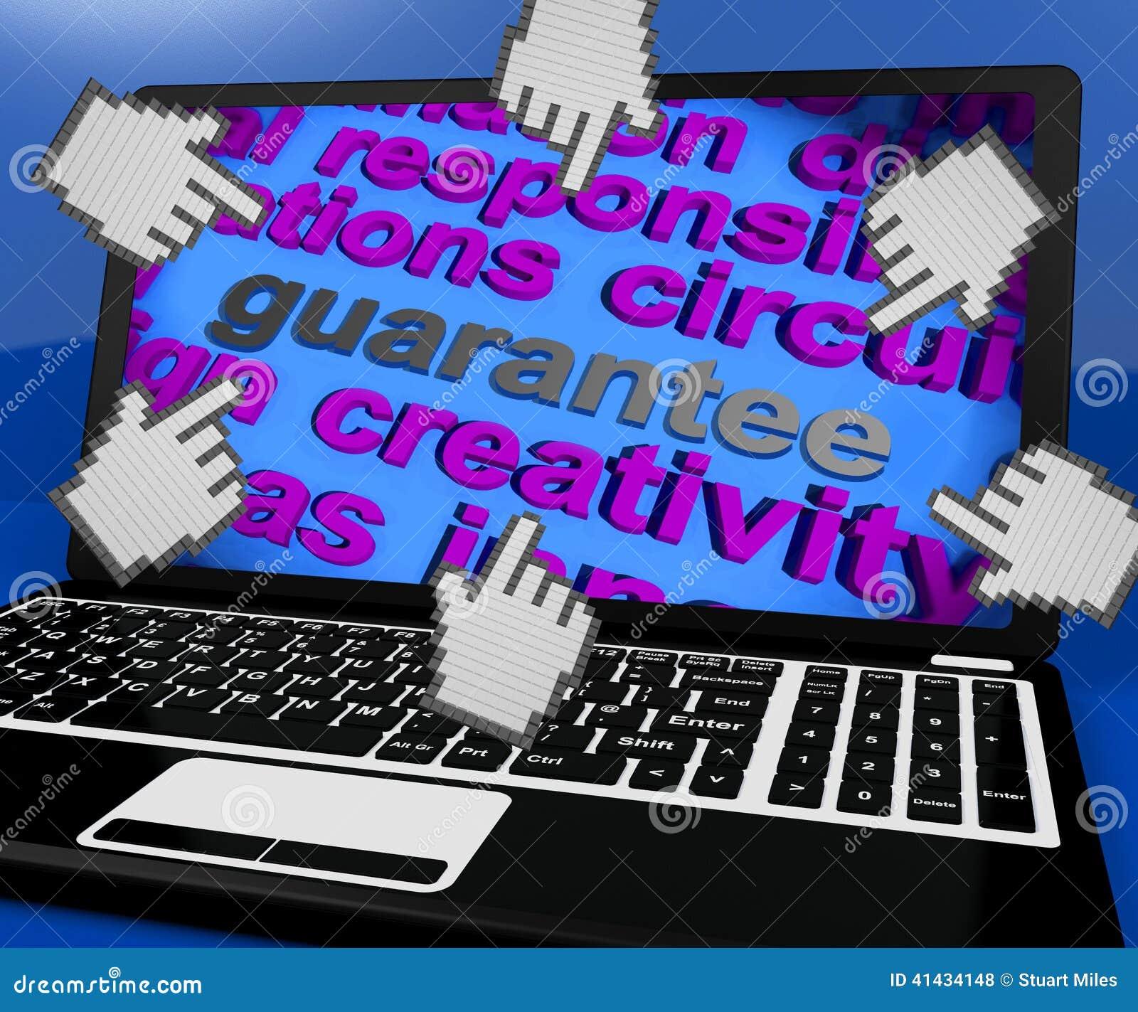 保证膝上型计算机屏幕显示诺言保证或保单