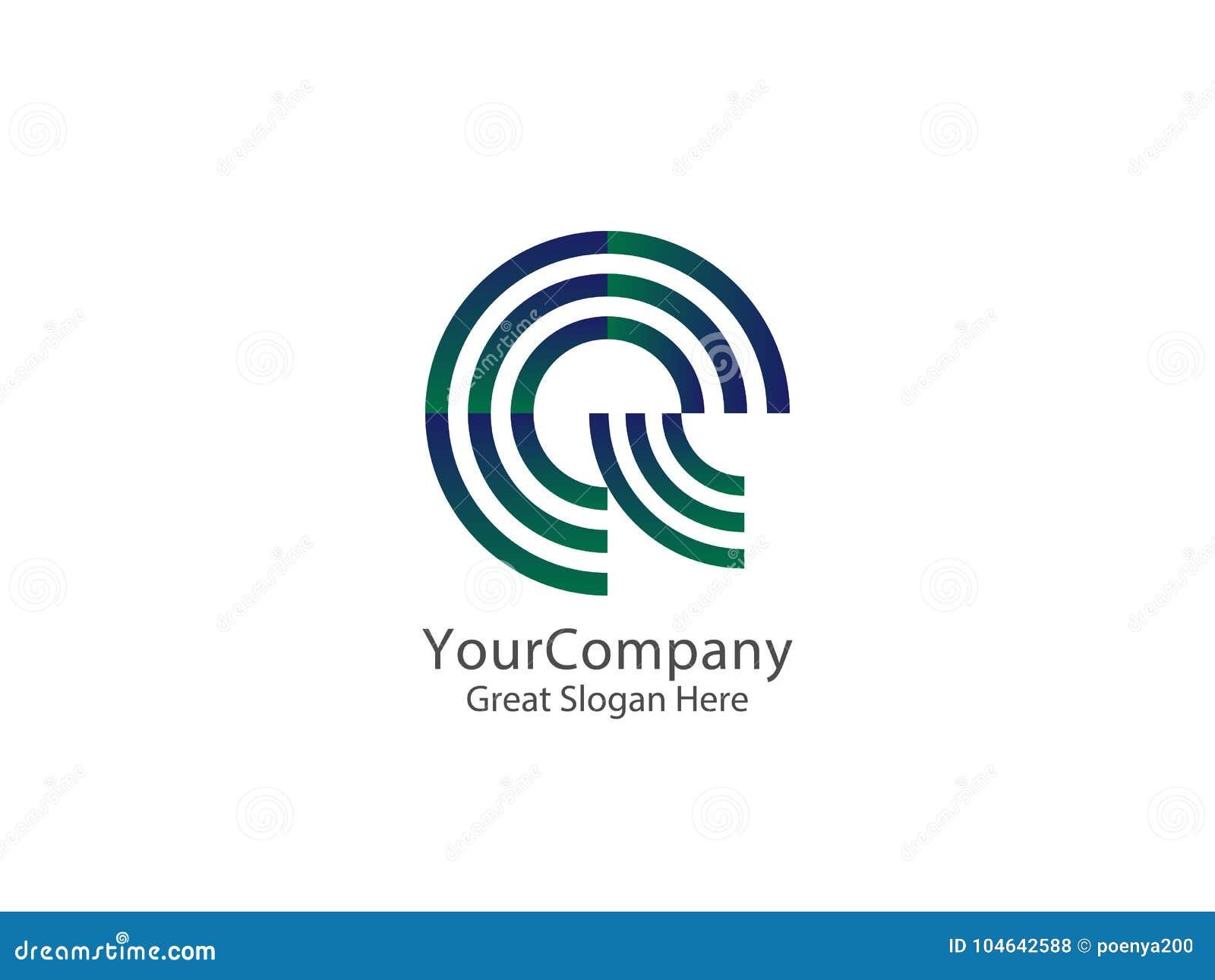 信件E和Q商标象 圈子线商标设计观念