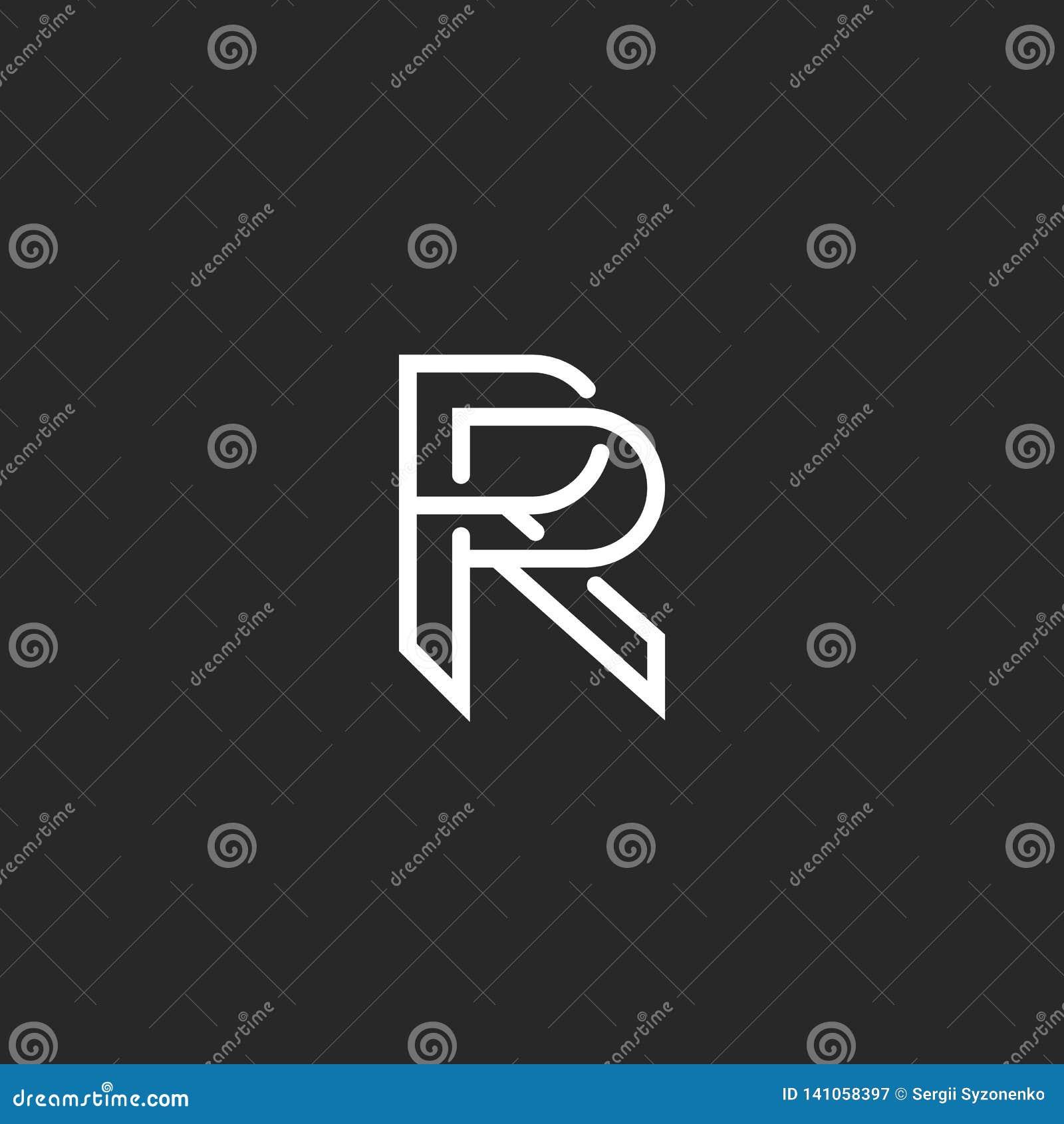 信件R商标组合图案,大模型行家黑白设计元素,婚姻的邀请模板象征