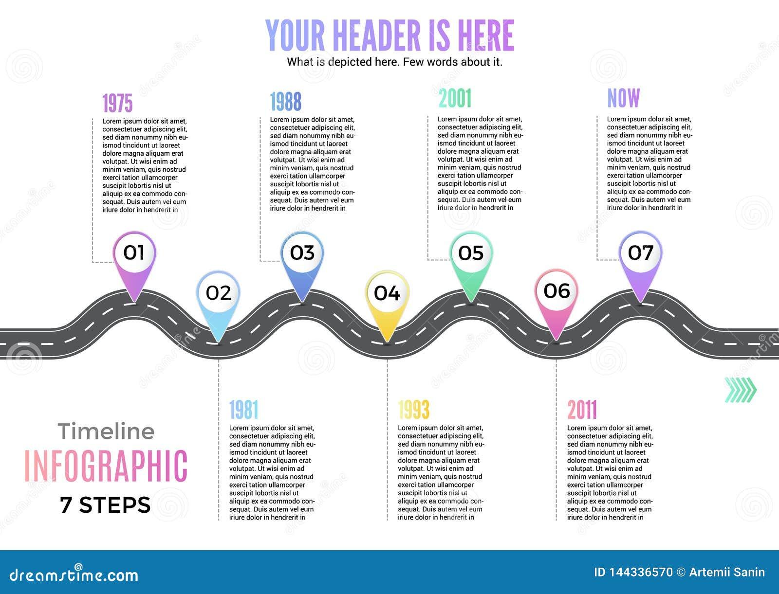 信息企业计划航海圈地图弯路线infographic路线图设计传染媒介例证