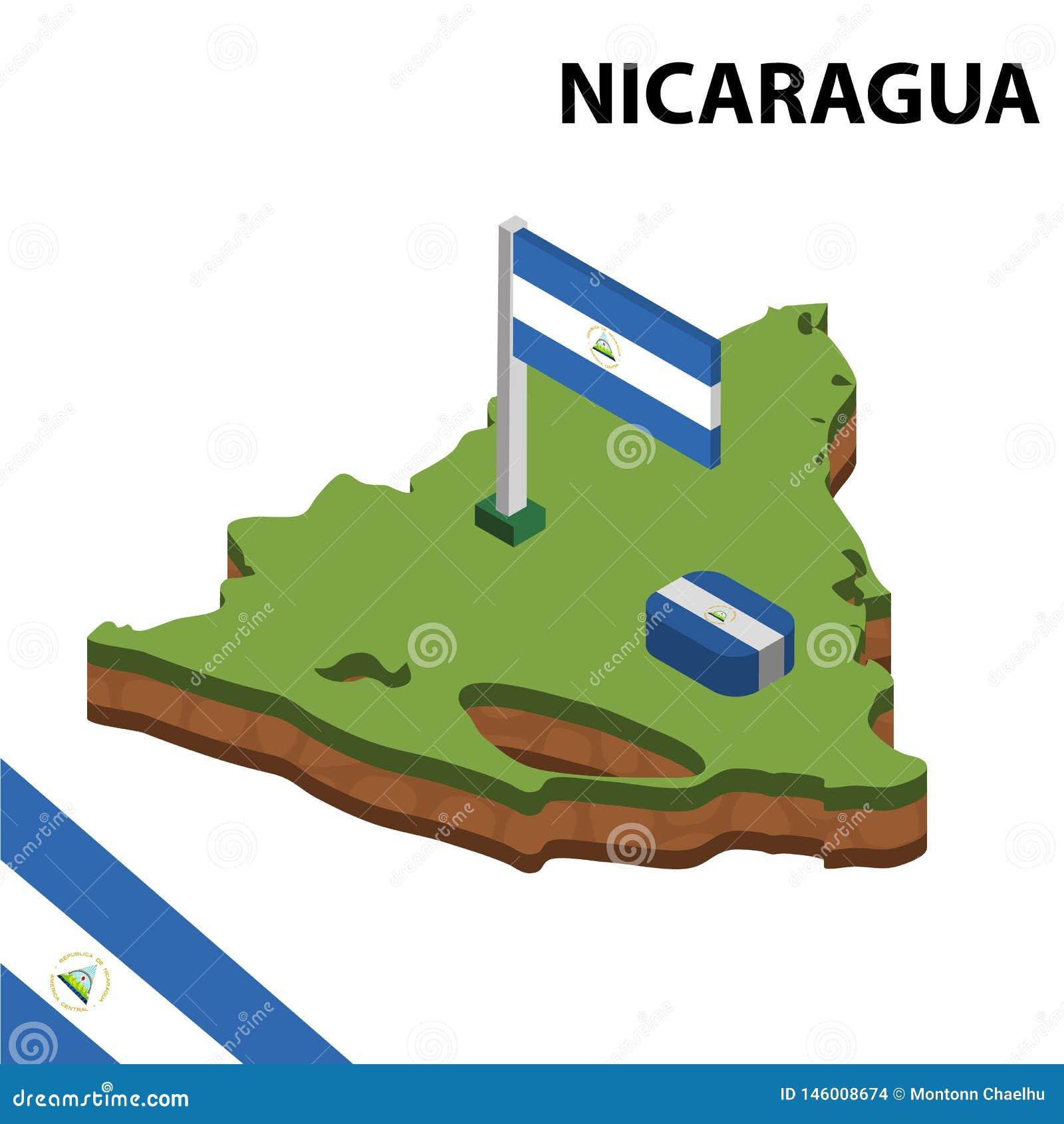 信息尼加拉瓜的图表等量地图和旗子 r
