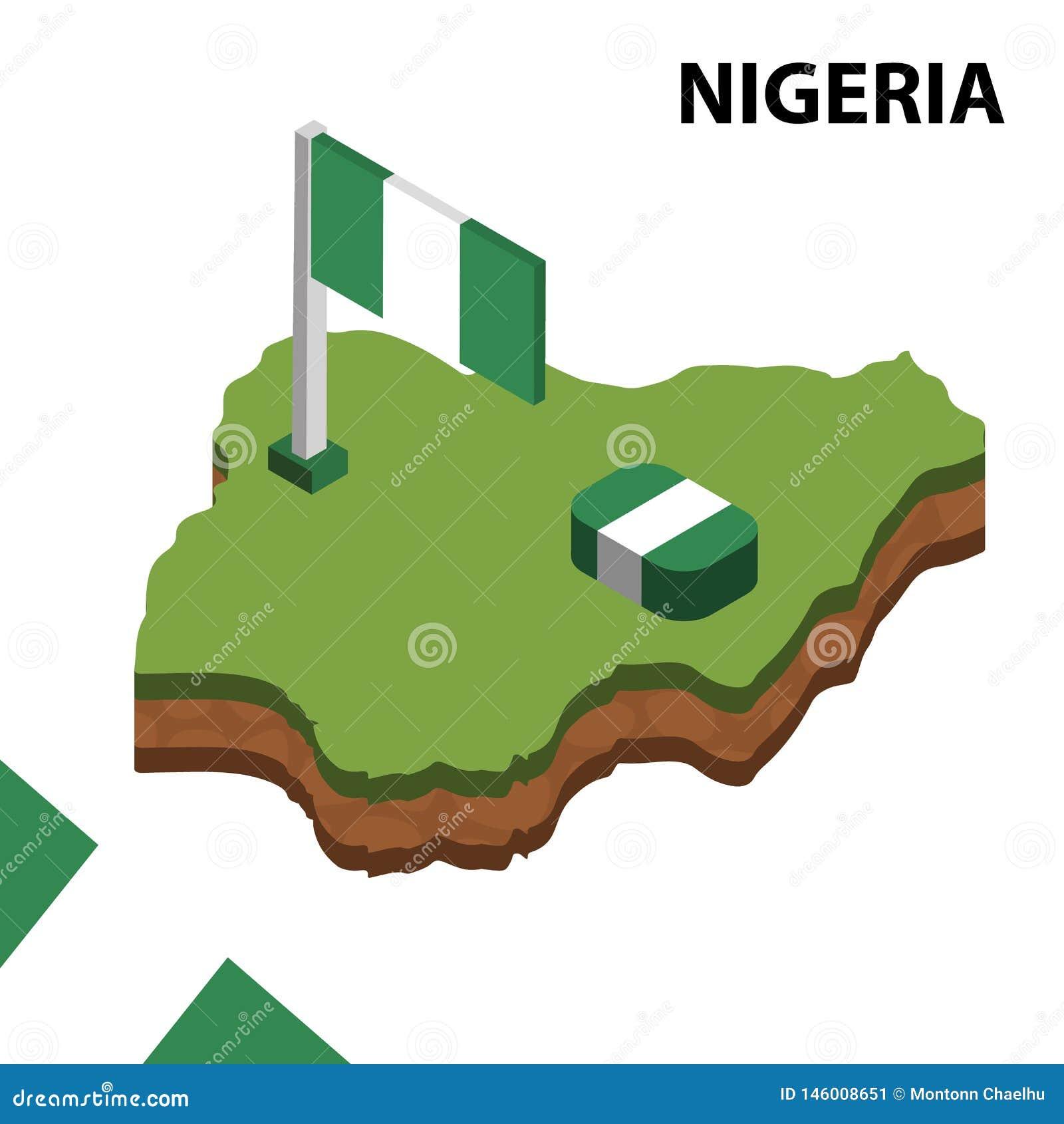 信息尼日利亚的图表等量地图和旗子 r