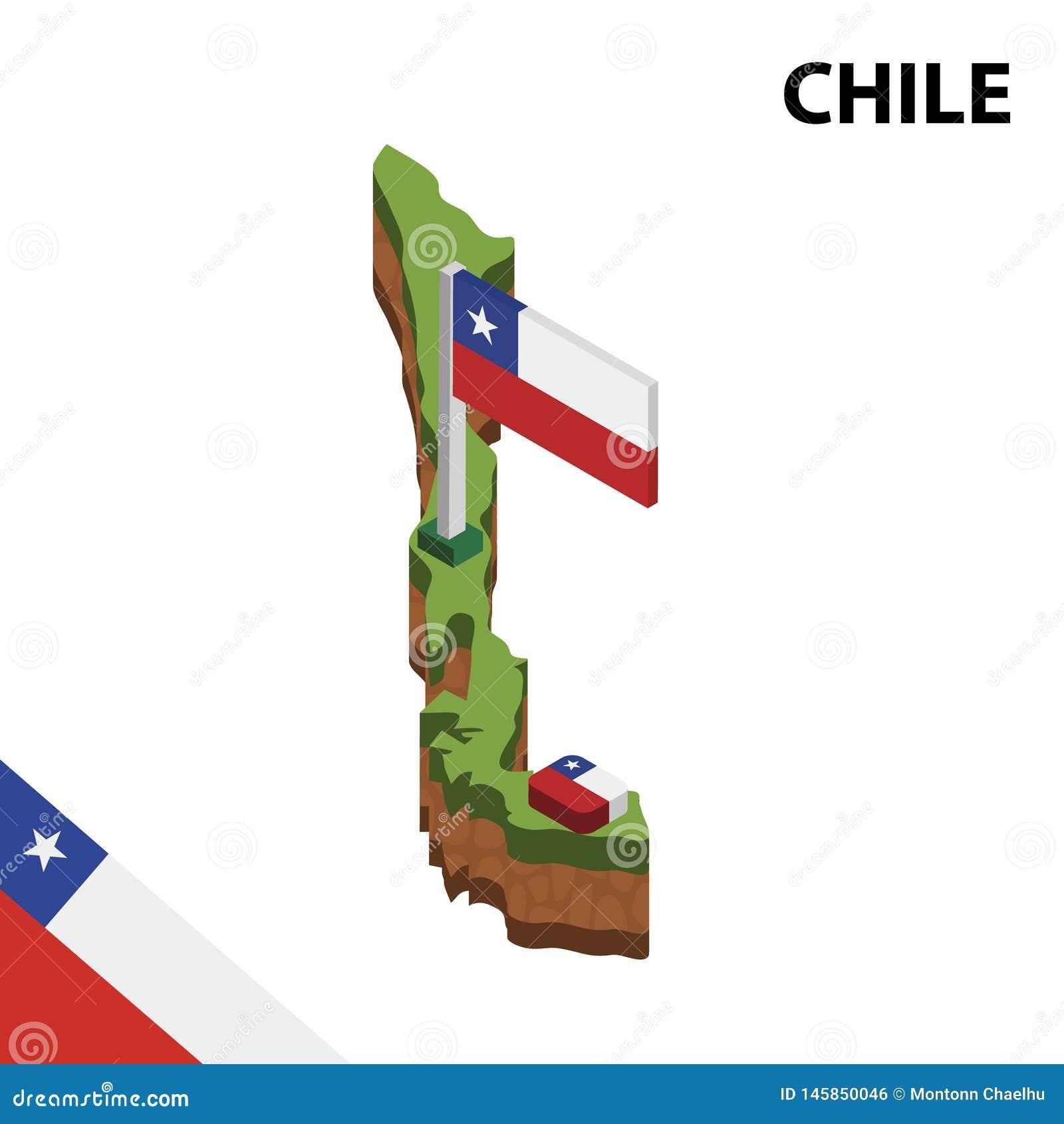 信息智利的图表等量地图和旗子 r