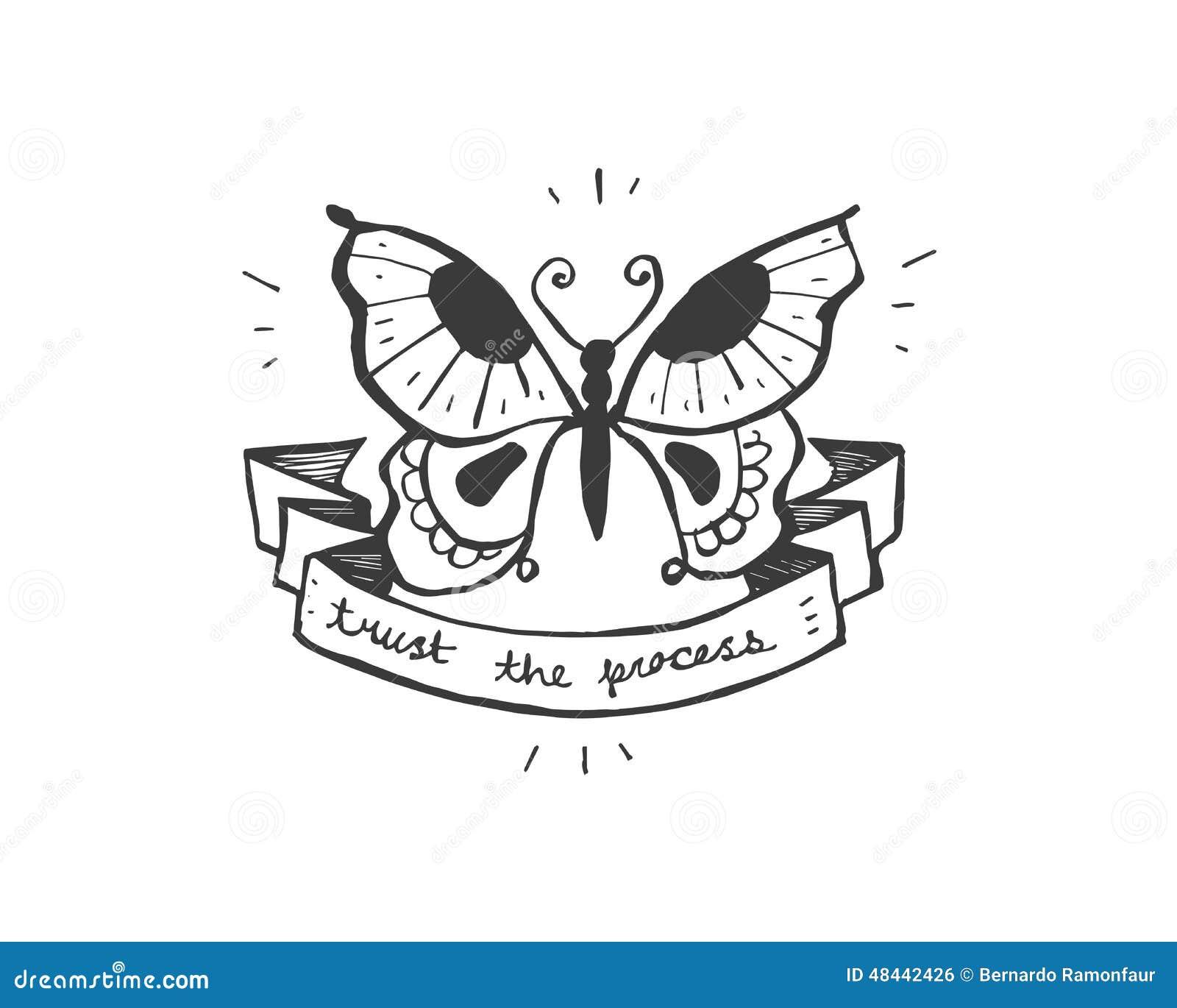 一只蝴蝶的手拉的传染媒介例证或图画与说的丝带的:信任过程,在纹身花