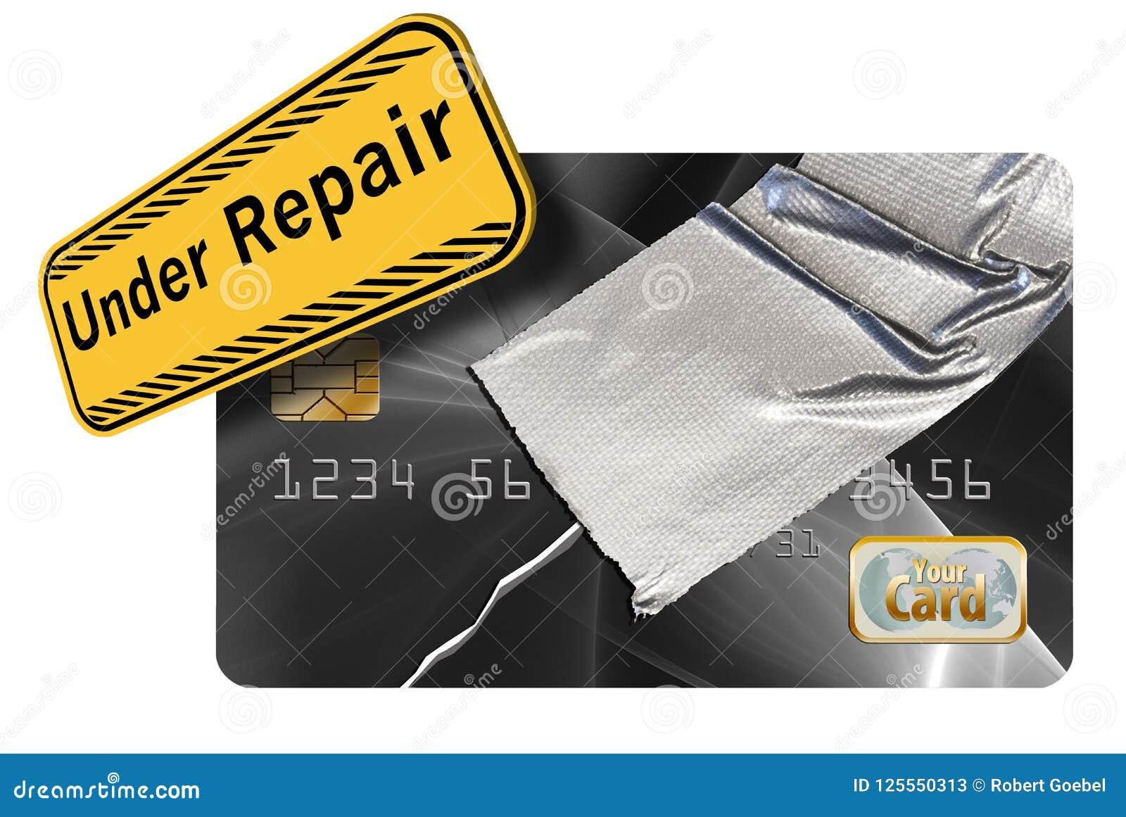 修理您的信用是显示一张损坏的信用卡修理与输送管轻拍这个例证的题材