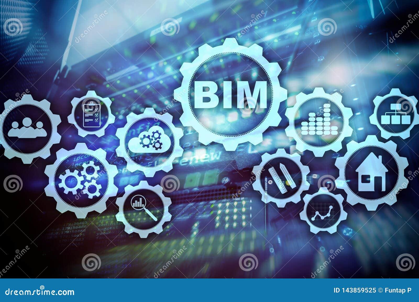 修造的信息塑造 在虚屏上的BIM有服务器数据中心背景