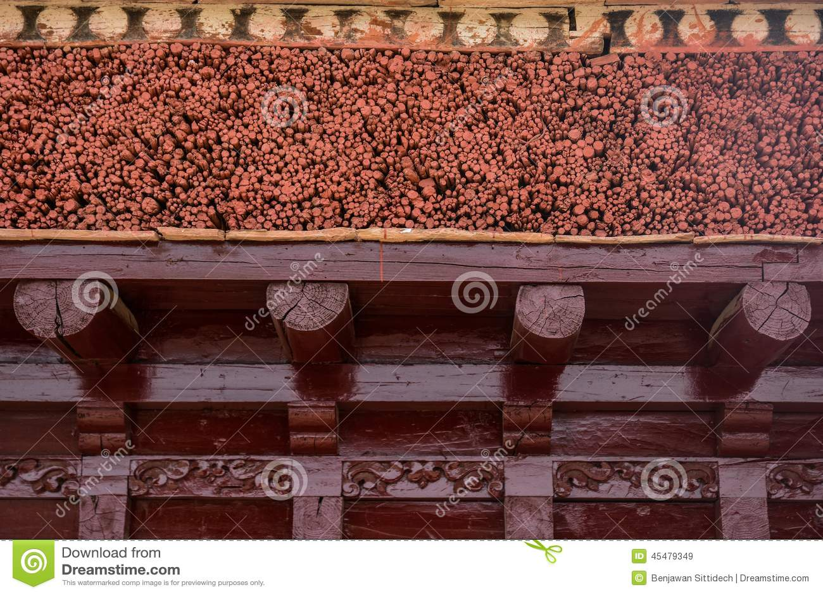 修道院屋顶细节在Leh