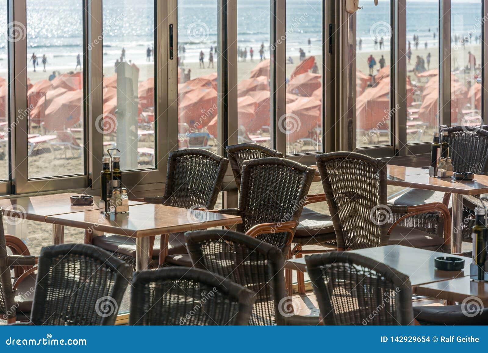 俯视一个充分的海滩的空的餐馆