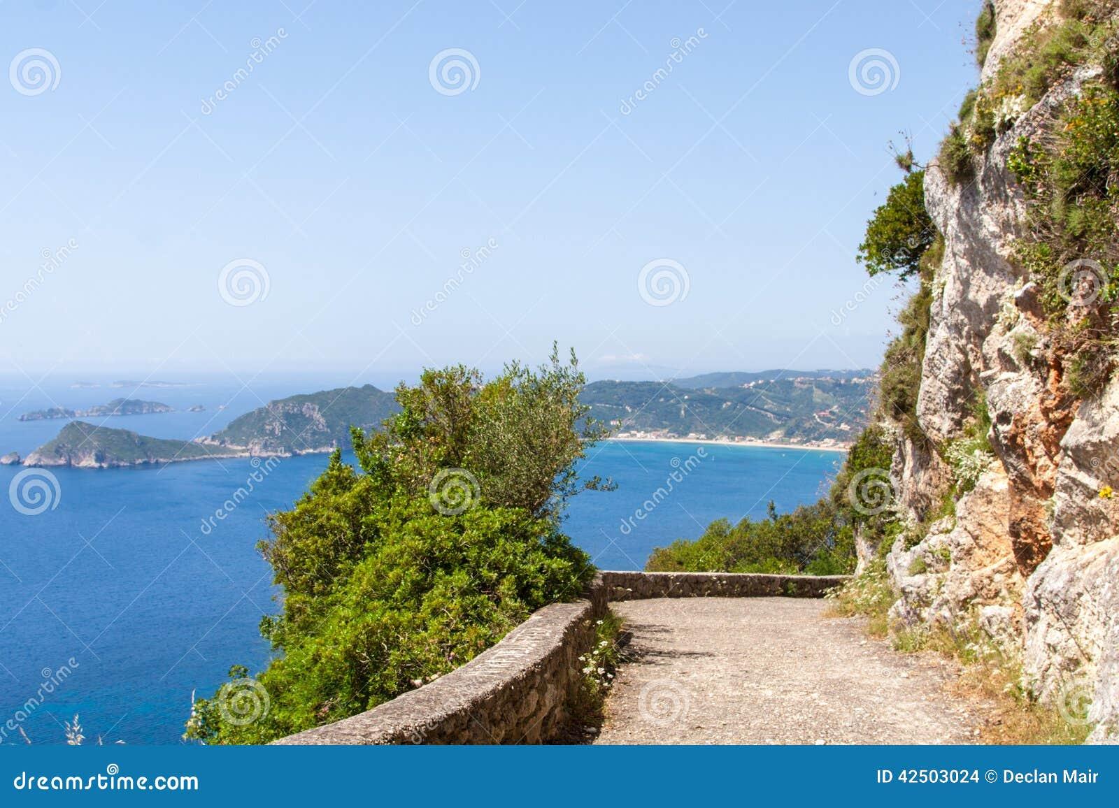 俯视的贴水乔治斯,科孚岛,希腊