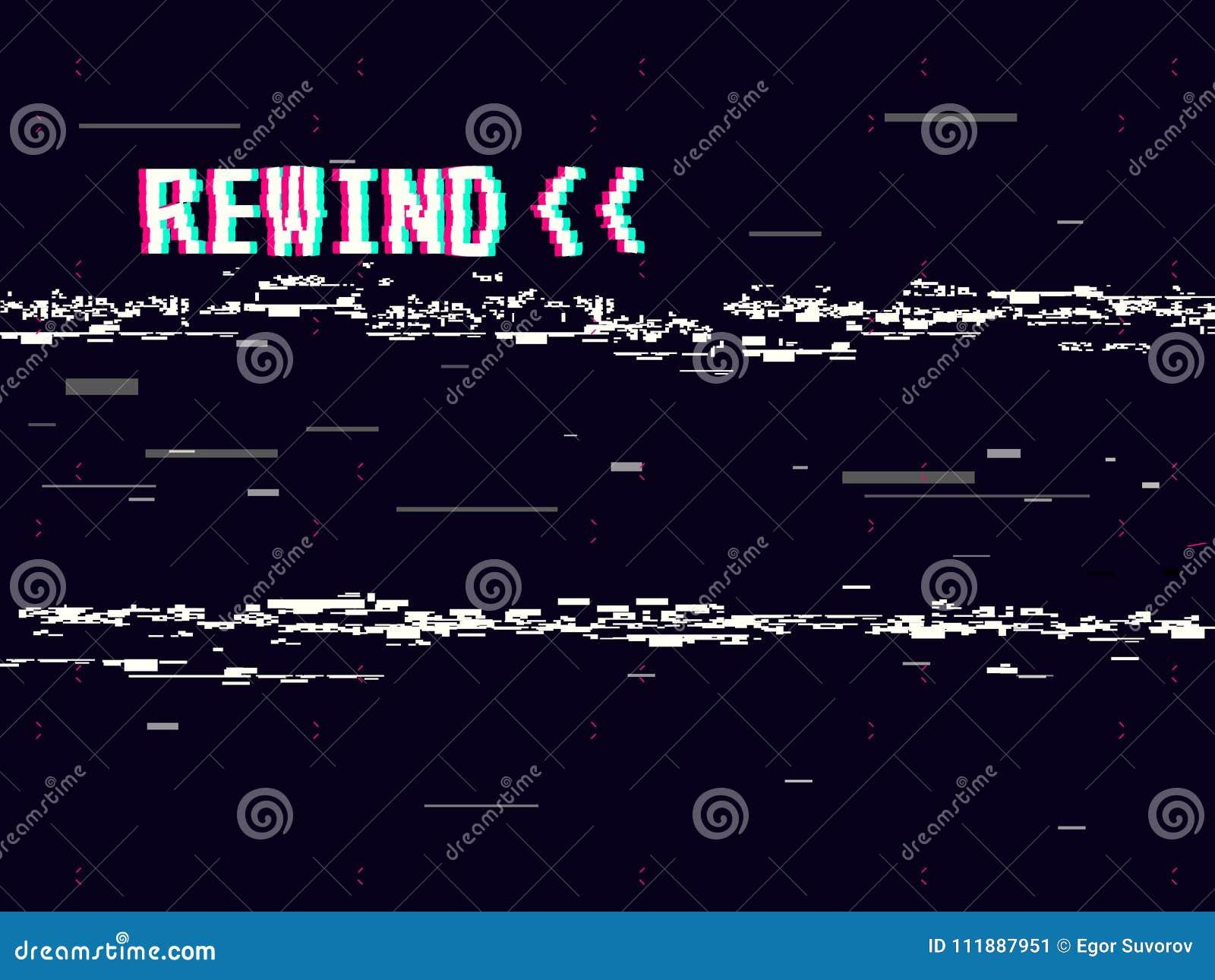 倒带小故障背景 设计的减速火箭的VHS模板 Glitched线路噪声 映象点艺术8位样式 向量