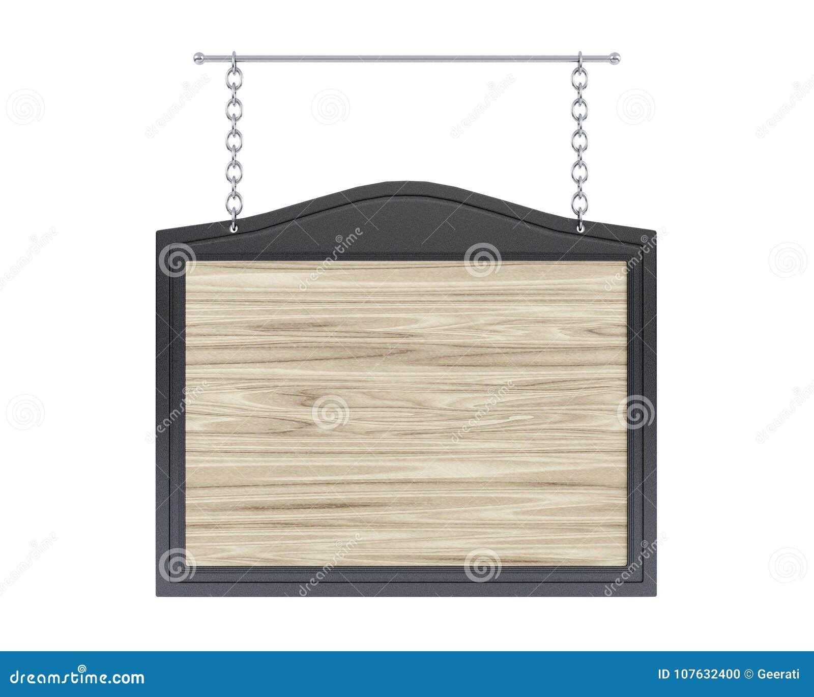 倒空与金属框架的木牌在白色背景