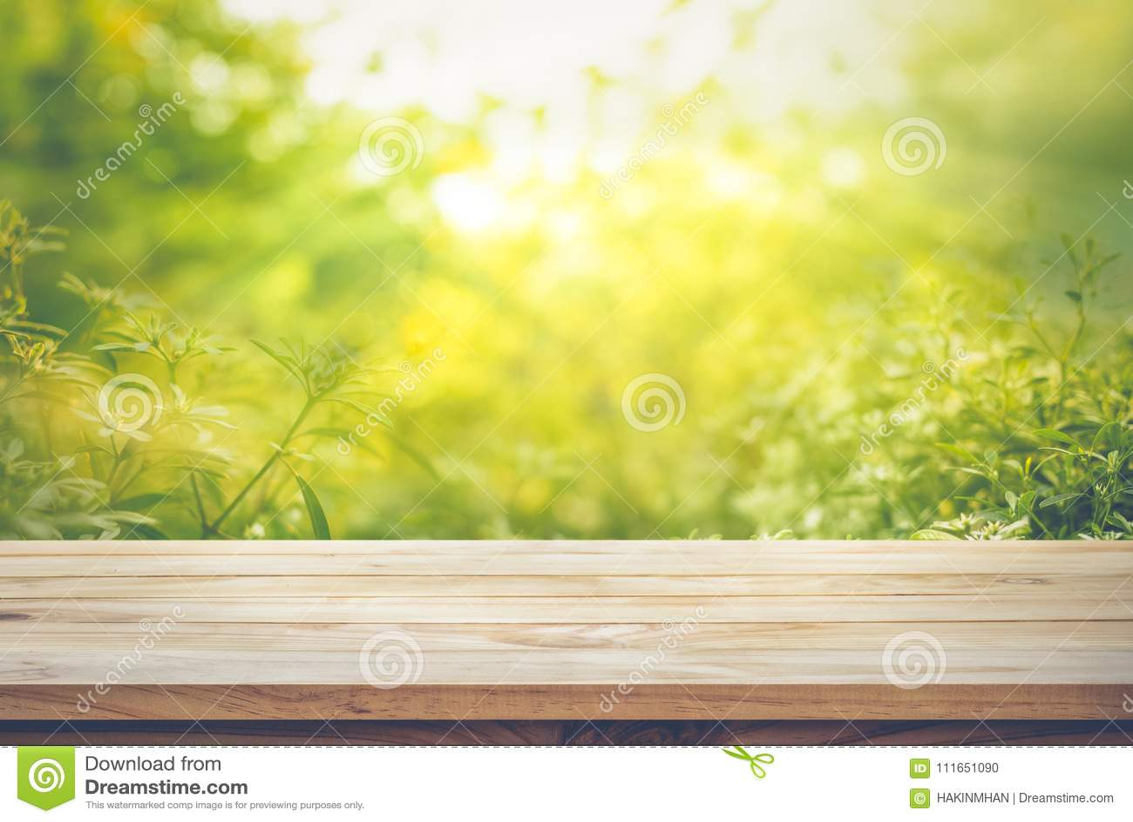 倒空在新绿色摘要迷离的木台式从庭院的