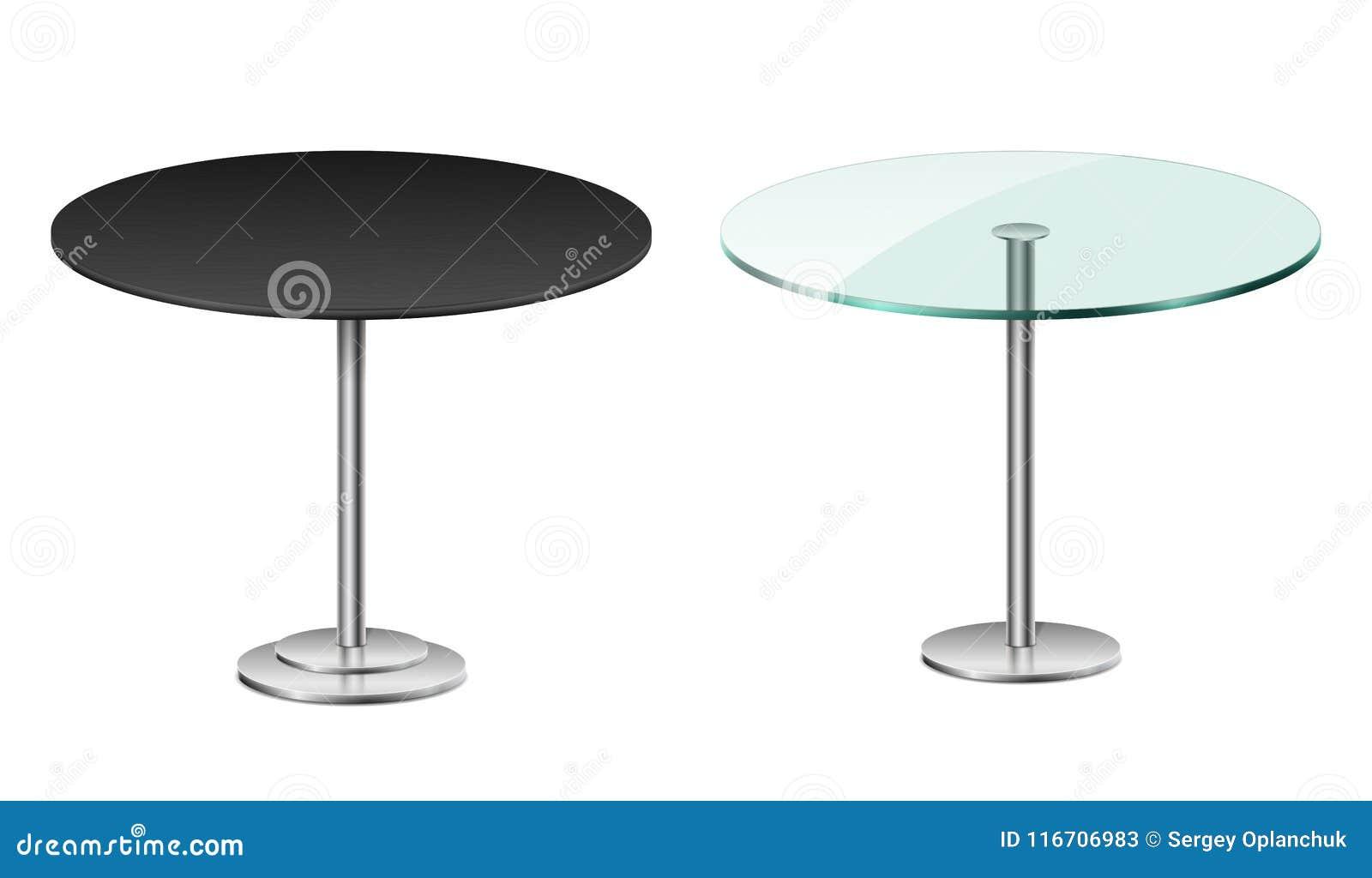 倒空在白色隔绝的现代黑圆桌 与金属立场模板的传染媒介玻璃桌餐馆或咖啡馆的