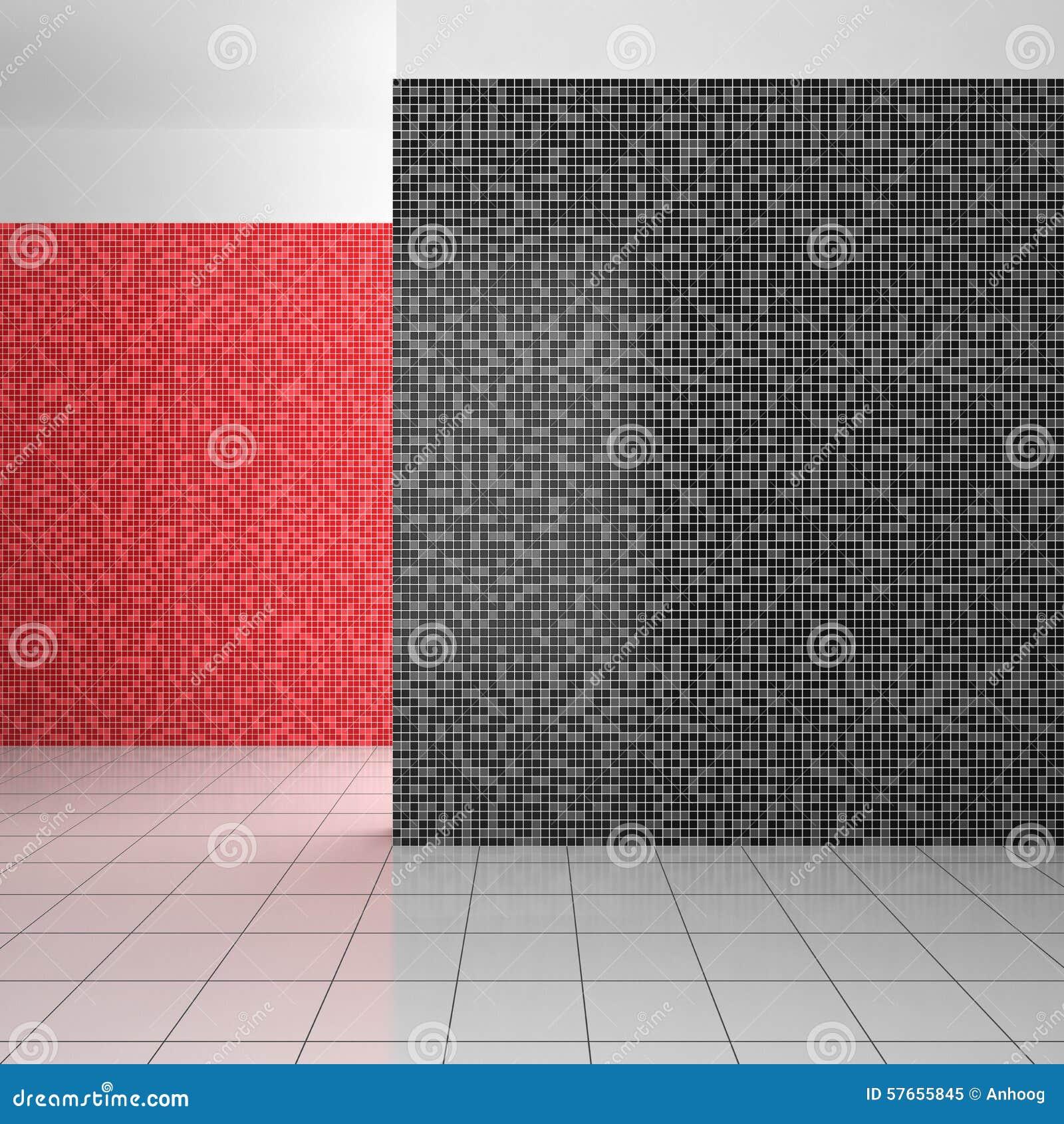 倒空有黑,白色和红色瓦片的现代卫生间
