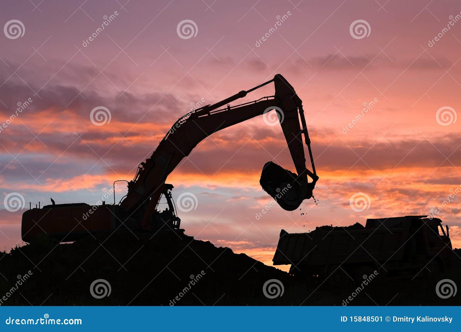 倾销者挖掘机卡车