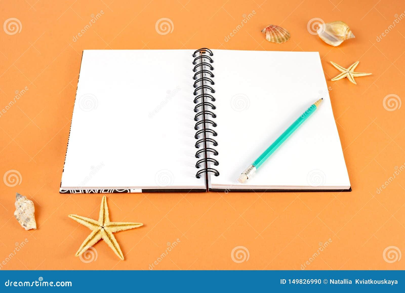 假日、旅行和夏天概念-有铅笔的在橙色背景的笔记本和壳