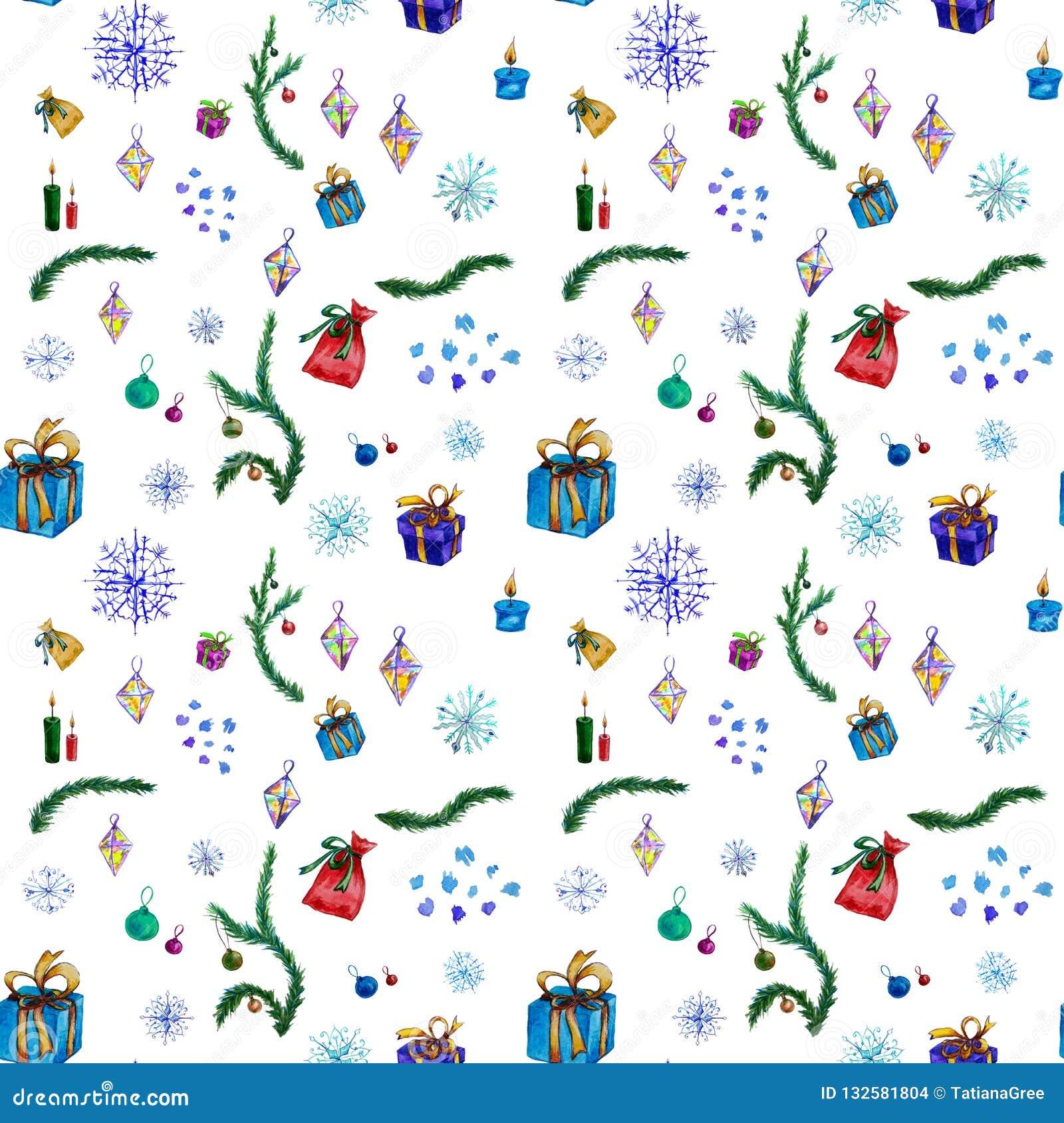 假日装饰的无缝的水彩样式与圣诞树