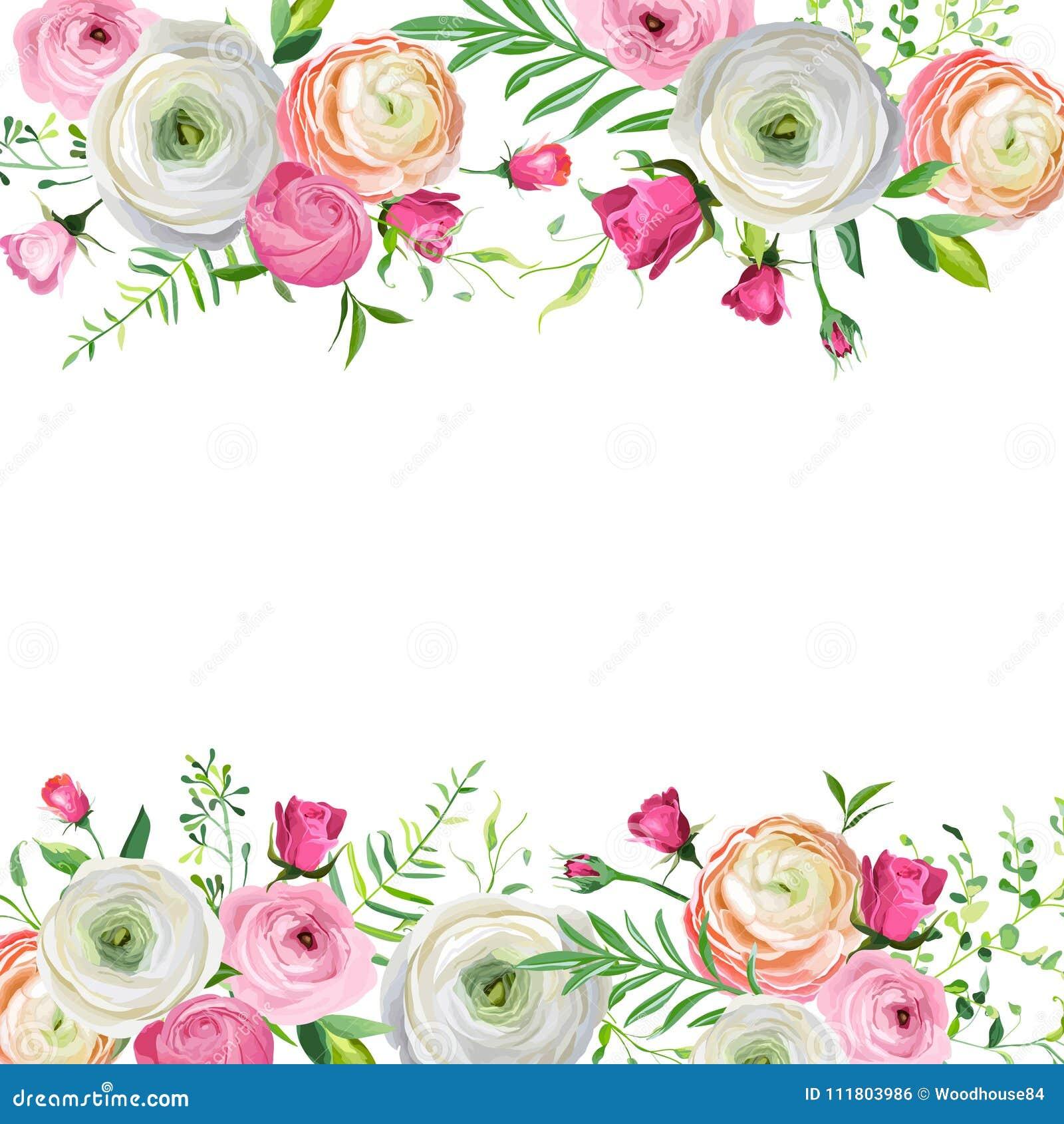 假日装饰的春天和夏天花卉框架 婚礼邀请,与开花的花的贺卡模板
