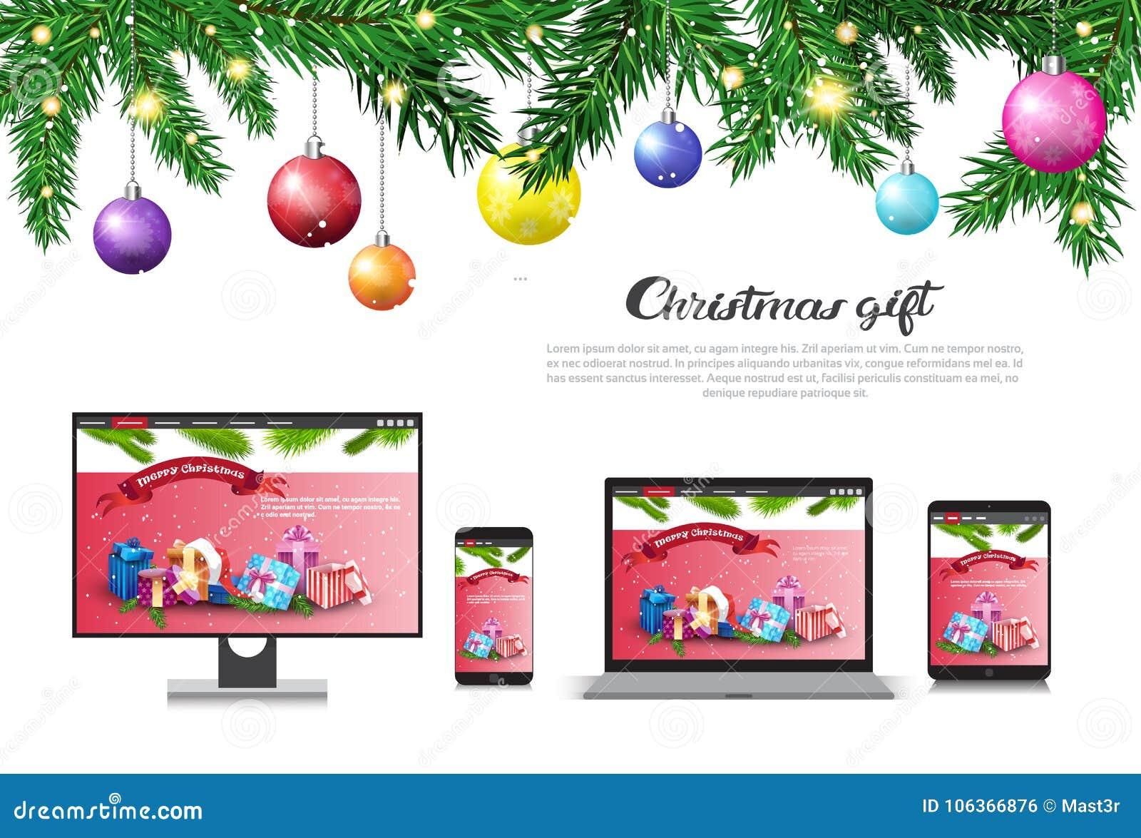 假日销售在现代设备圣诞节礼物概念新年打折广告海报