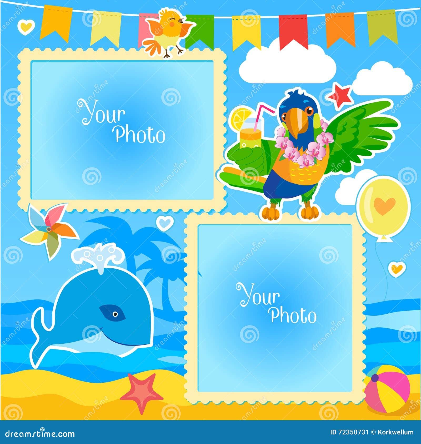 假期夏天与海、鲸鱼和鹦鹉的照片框架 婴孩的装饰动画片模板