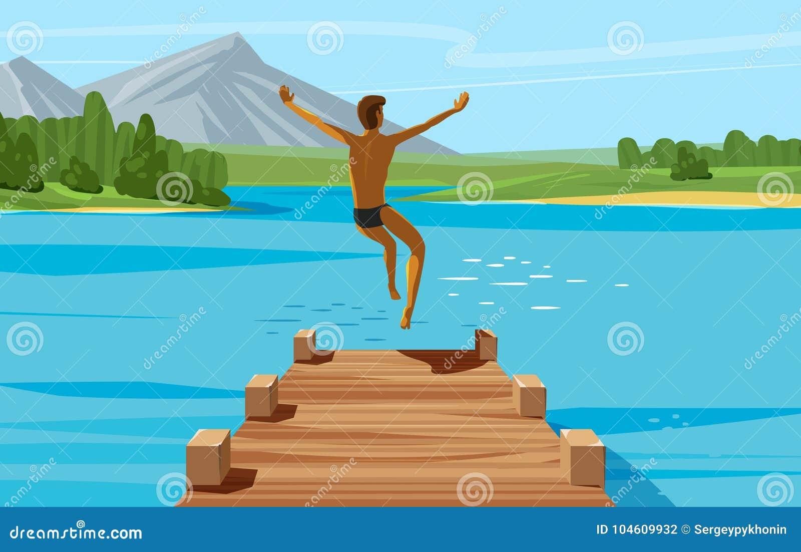 假期,周末,放松概念 跳进湖或水的年轻人 也corel凹道例证向量
