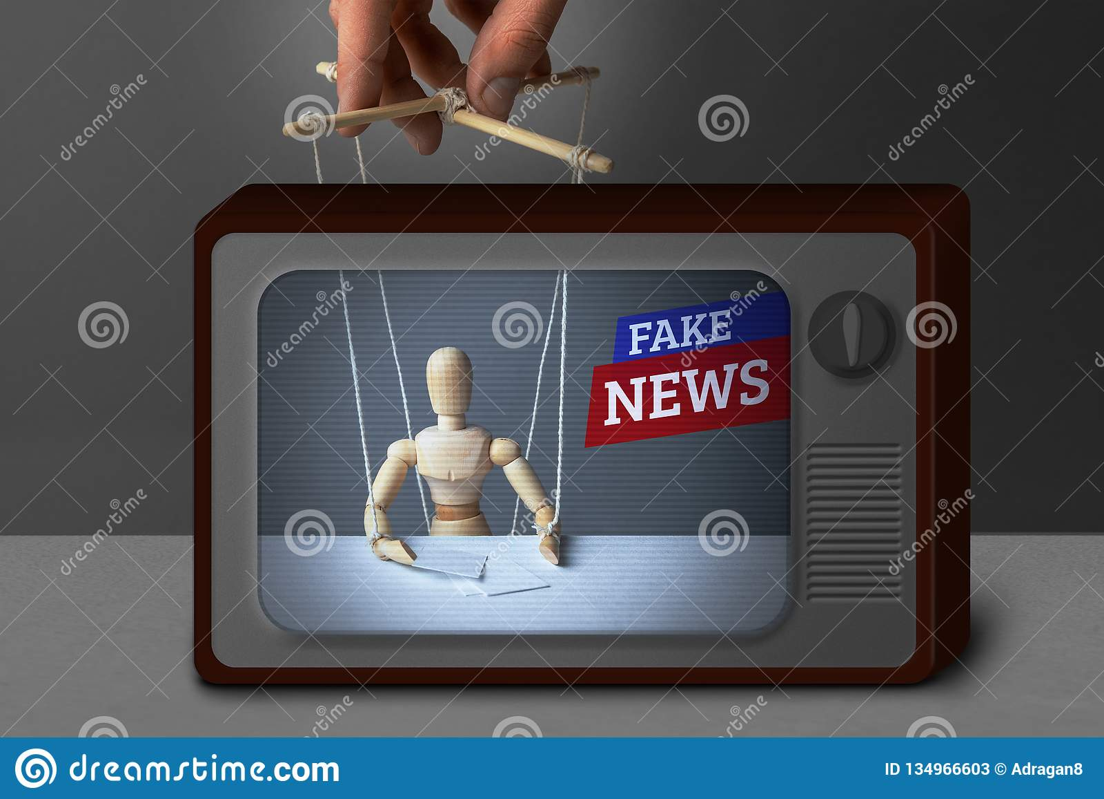 假电视新闻 通讯员,玩偶控制操纵傀儡的人 欺骗电视的人的说谎的信息