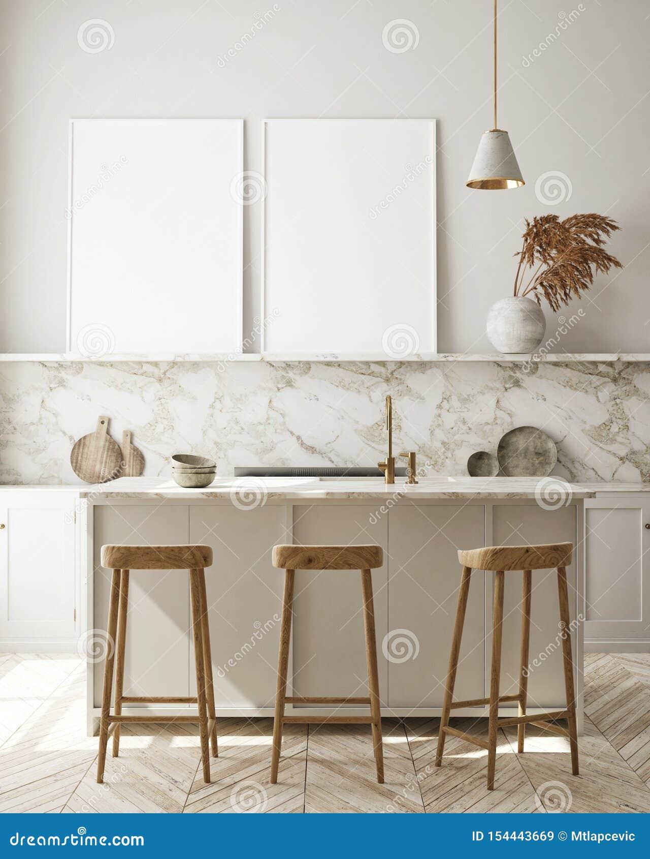 假装海报框架在现代内部背景,厨房,斯堪的纳维亚样式,3D中回报
