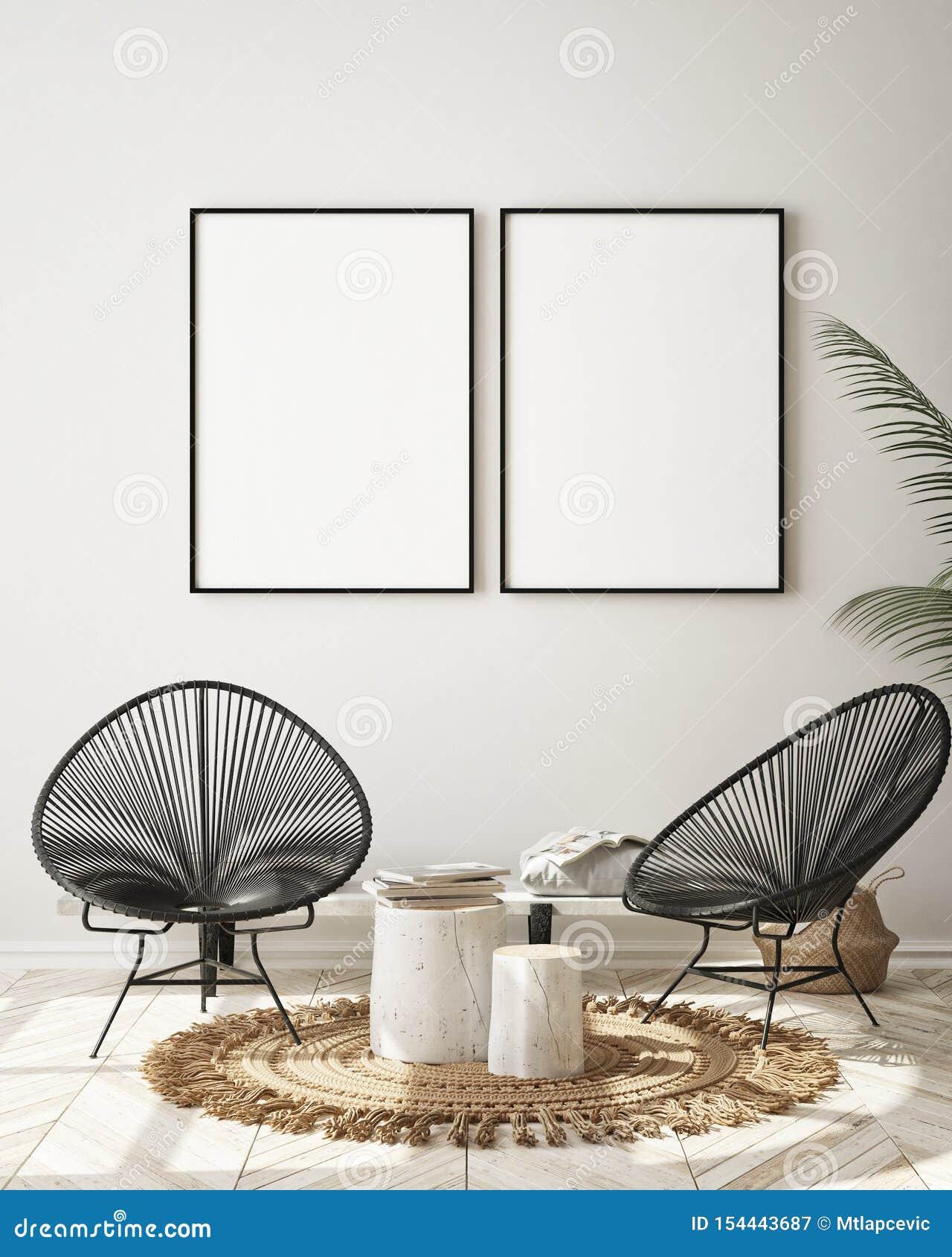 假装海报框架在现代内部背景,客厅,斯堪的纳维亚样式,3D中回报