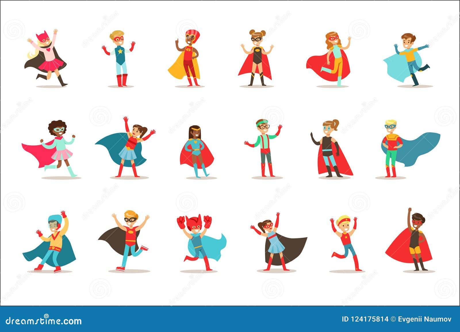 假装的孩子有在有海角的超级英雄服装穿戴的超级大国和面具被设置微笑的字符