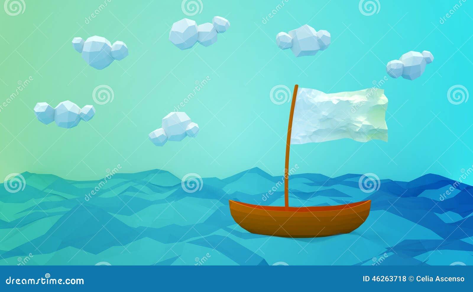 偏僻的小船贺卡