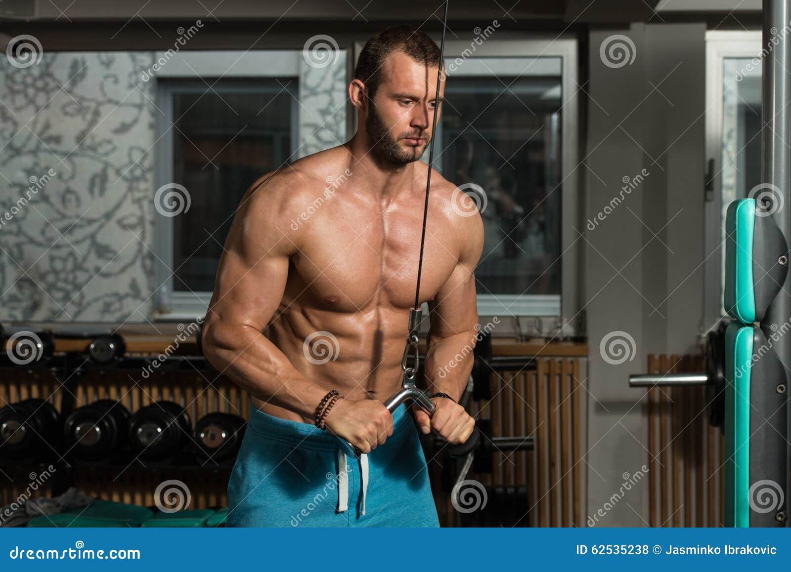 做三头肌的男性爱好健美者重量级的锻炼
