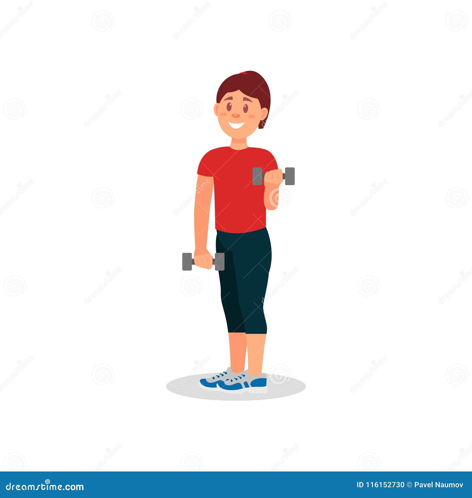 做与哑铃的微笑的妇女锻炼 运动装的女孩 在健身房的活跃锻炼 平的传染媒介设计