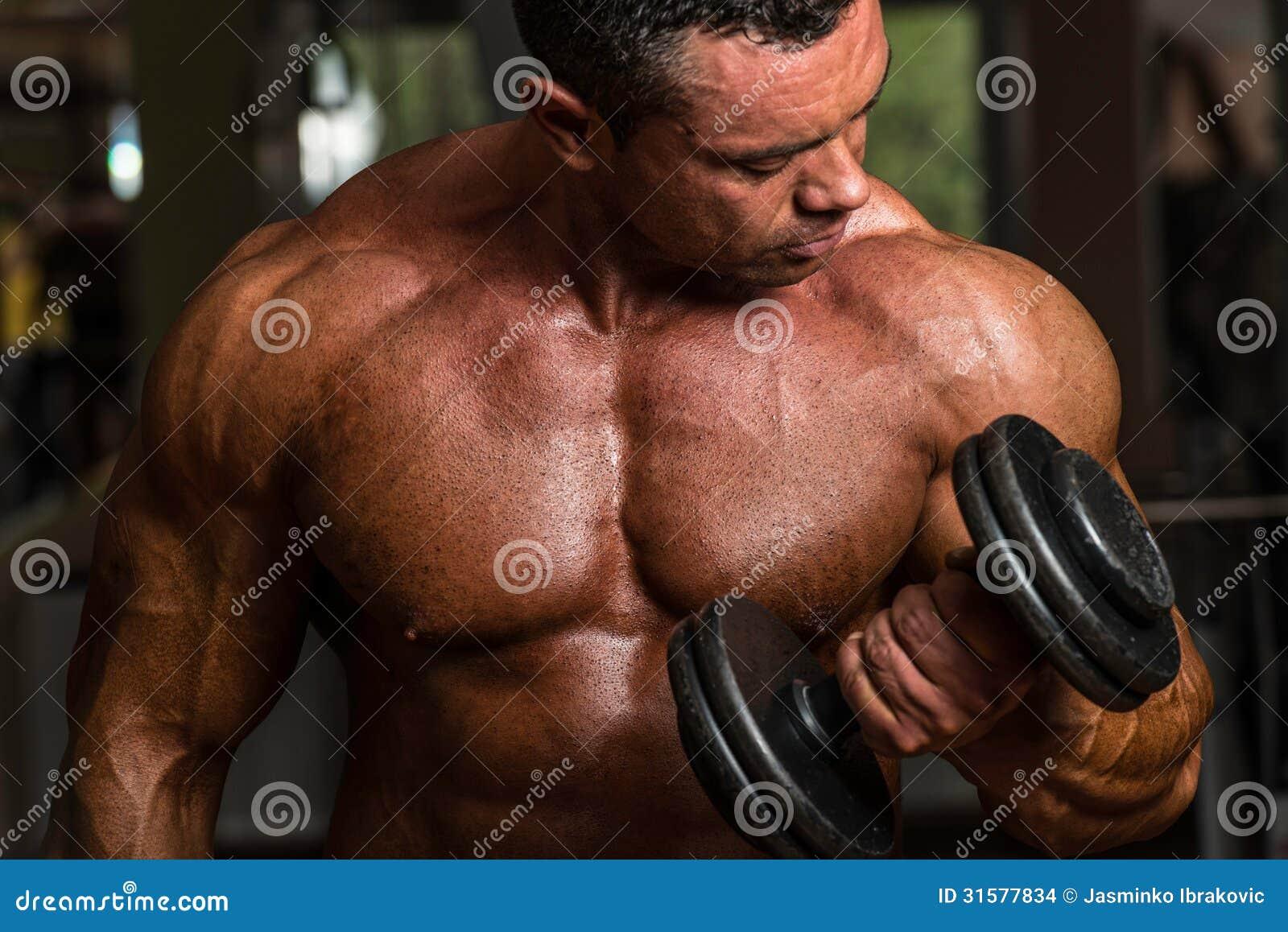 做二头肌的爱好健美者重量级的锻炼与哑铃