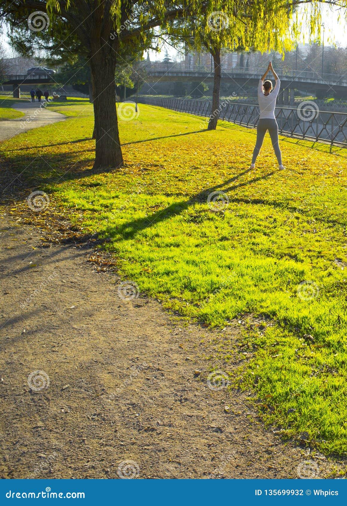 做伸展运动的妇女在秋天季节的都市公园