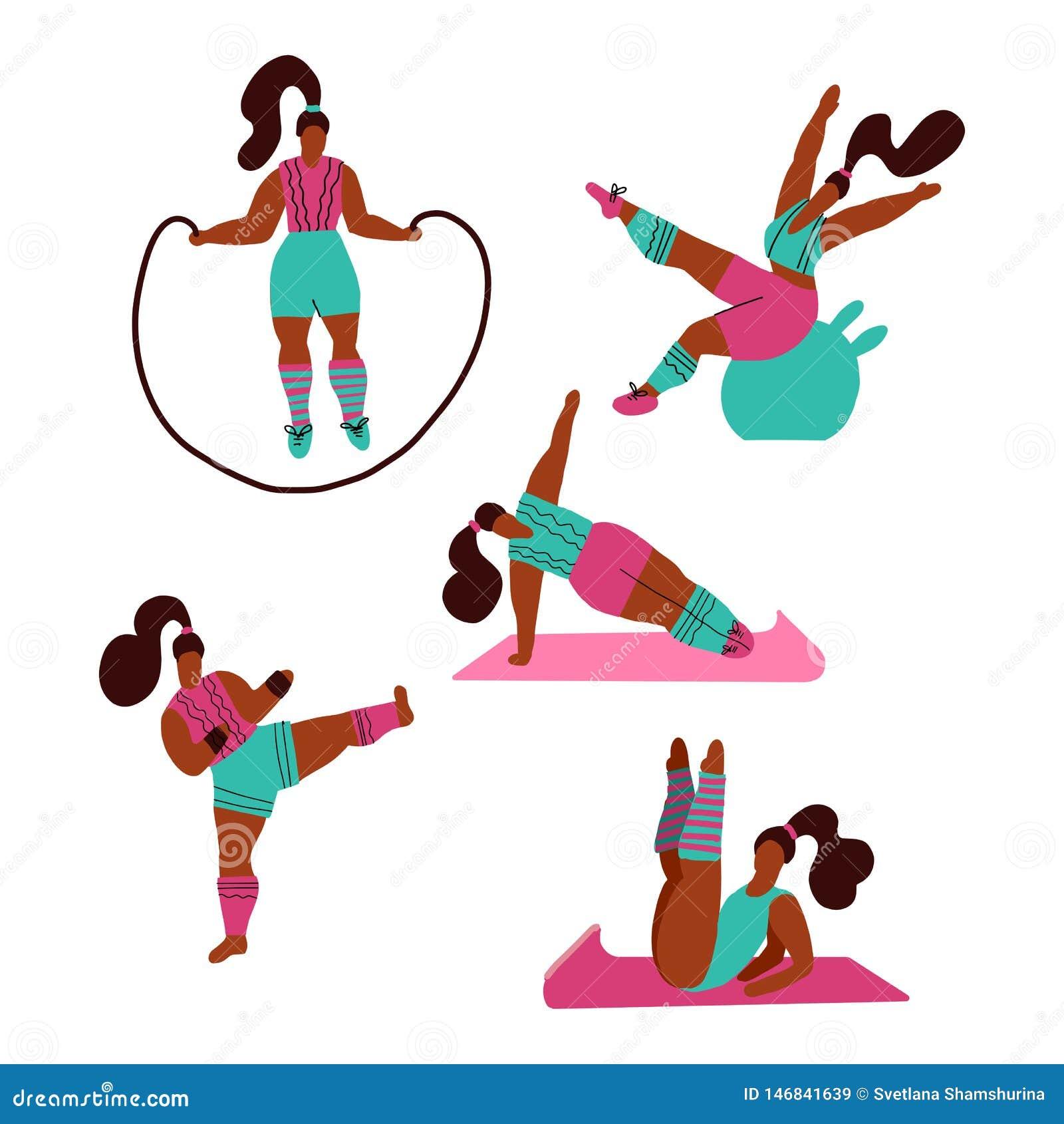 做体育的妇女 瑜伽,与跳绳,fitball的健身姿势,kickboxing 在健身房的锻炼在白色背景 ??