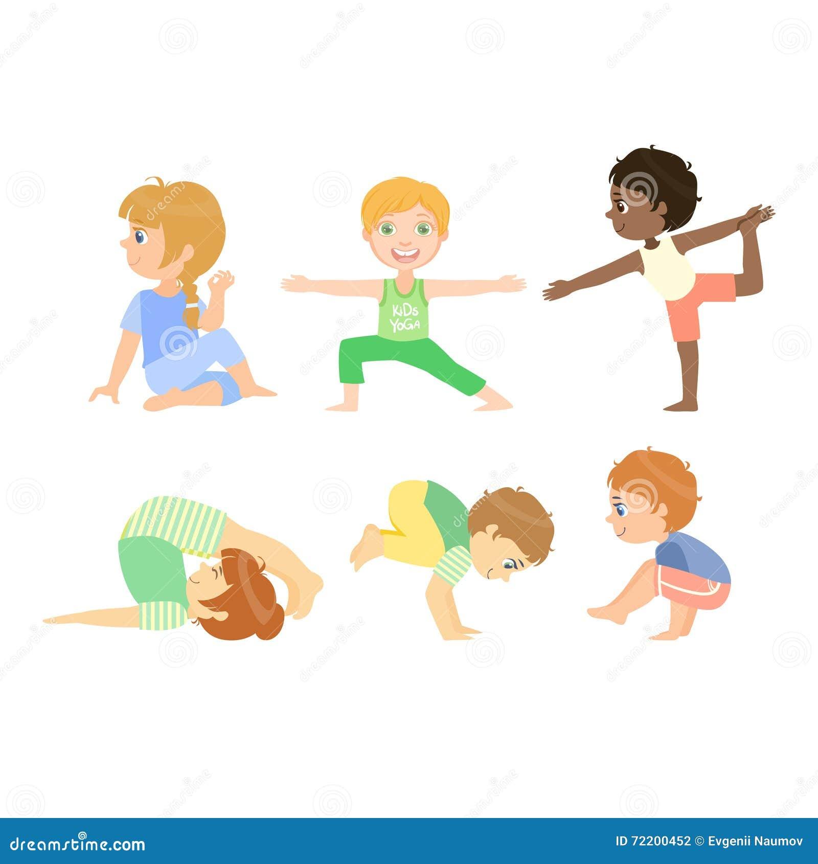 做先進的瑜伽姿勢的孩子圖片