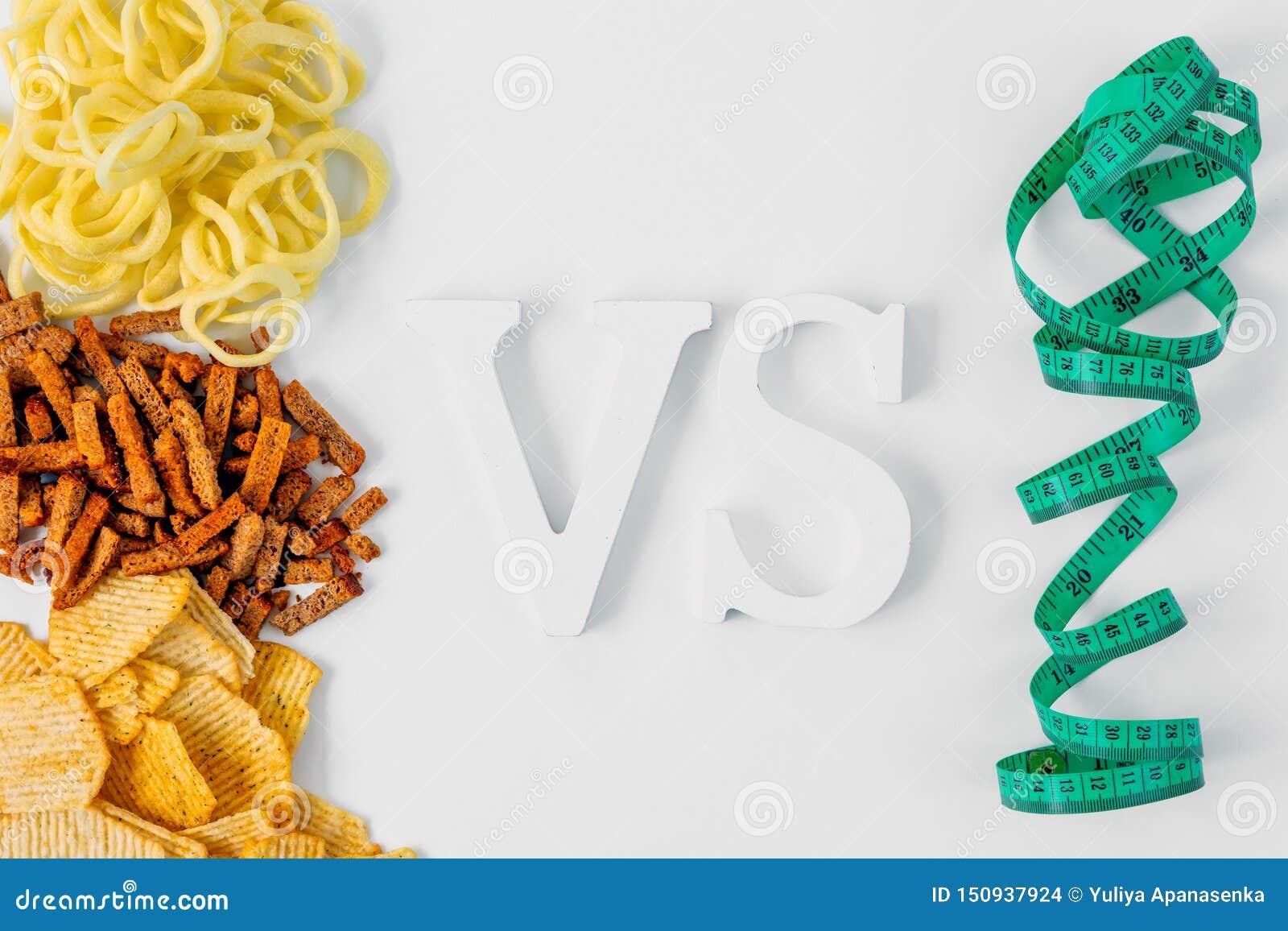 做出选择的概念食物 不健康的食物:芯片,cpackersonion圆环对测量的磁带,平的位置 减肥的时刻