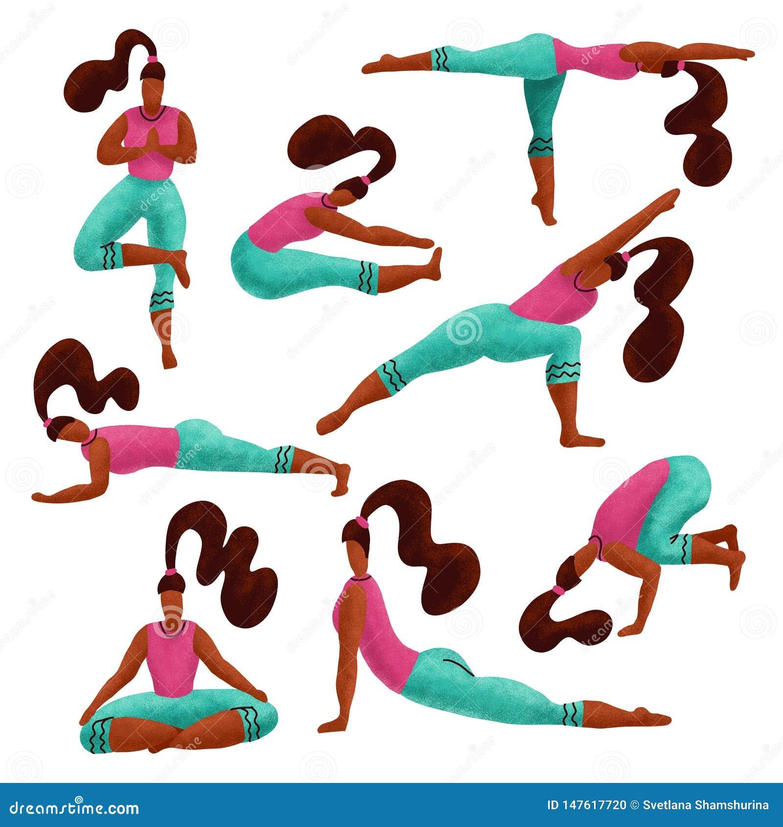 做变化瑜伽锻炼的设置8妇女 瑜伽女孩汇集 女孩用不同的asanas 手拉的卡通人物体育