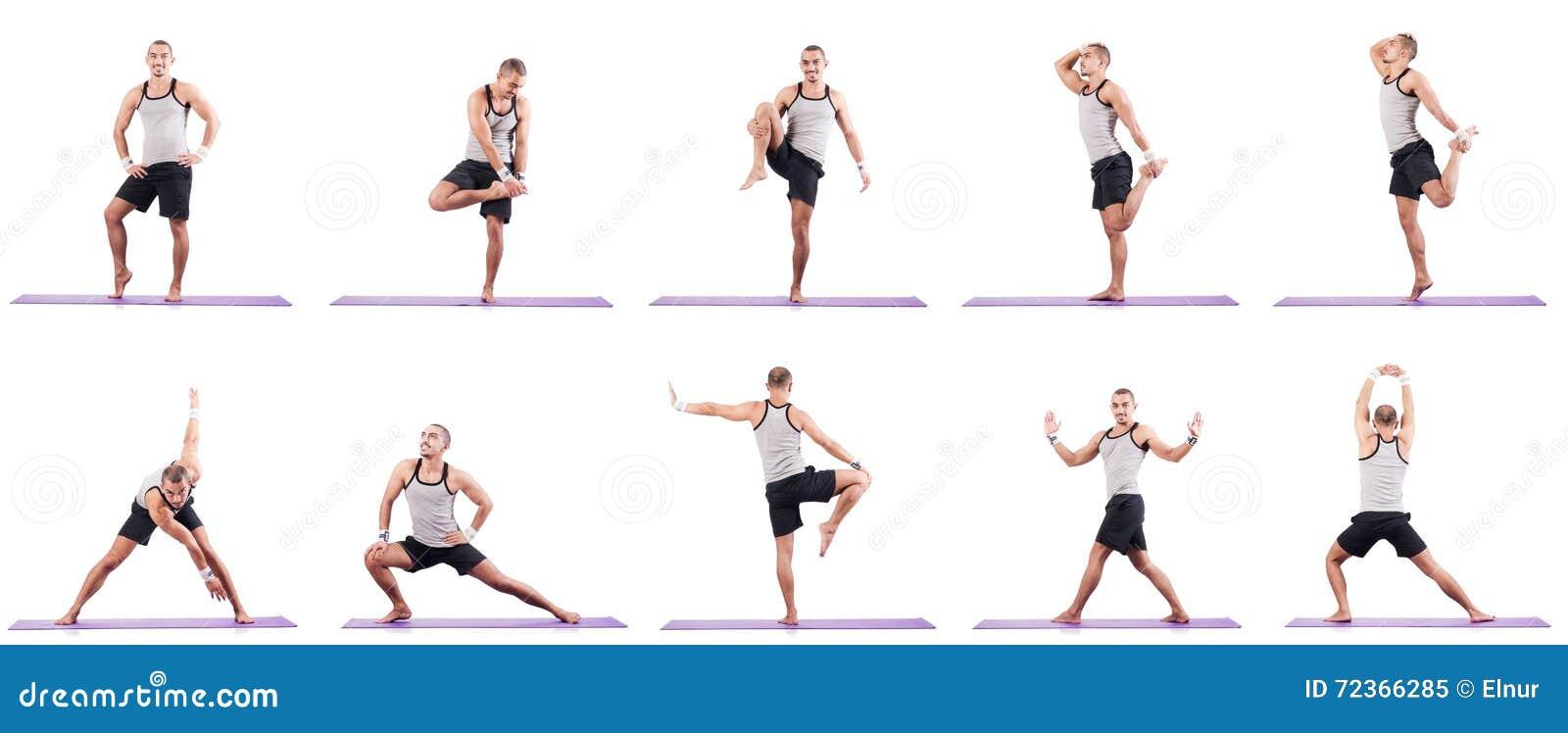 做在白色的人锻炼