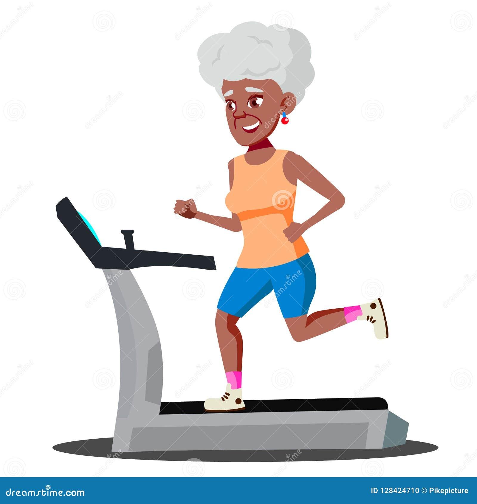 做在踏车传染媒介的现代老妇人心脏锻炼 按钮查出的现有量例证推进s启动妇女