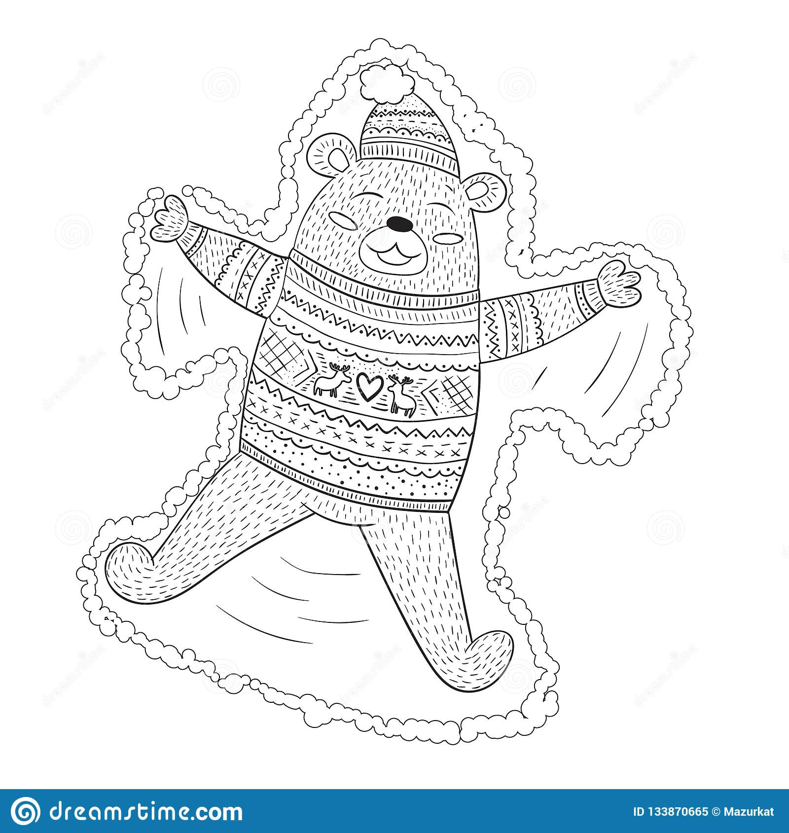 做在逗人喜爱的swea的上色页可爱的棕熊雪天使