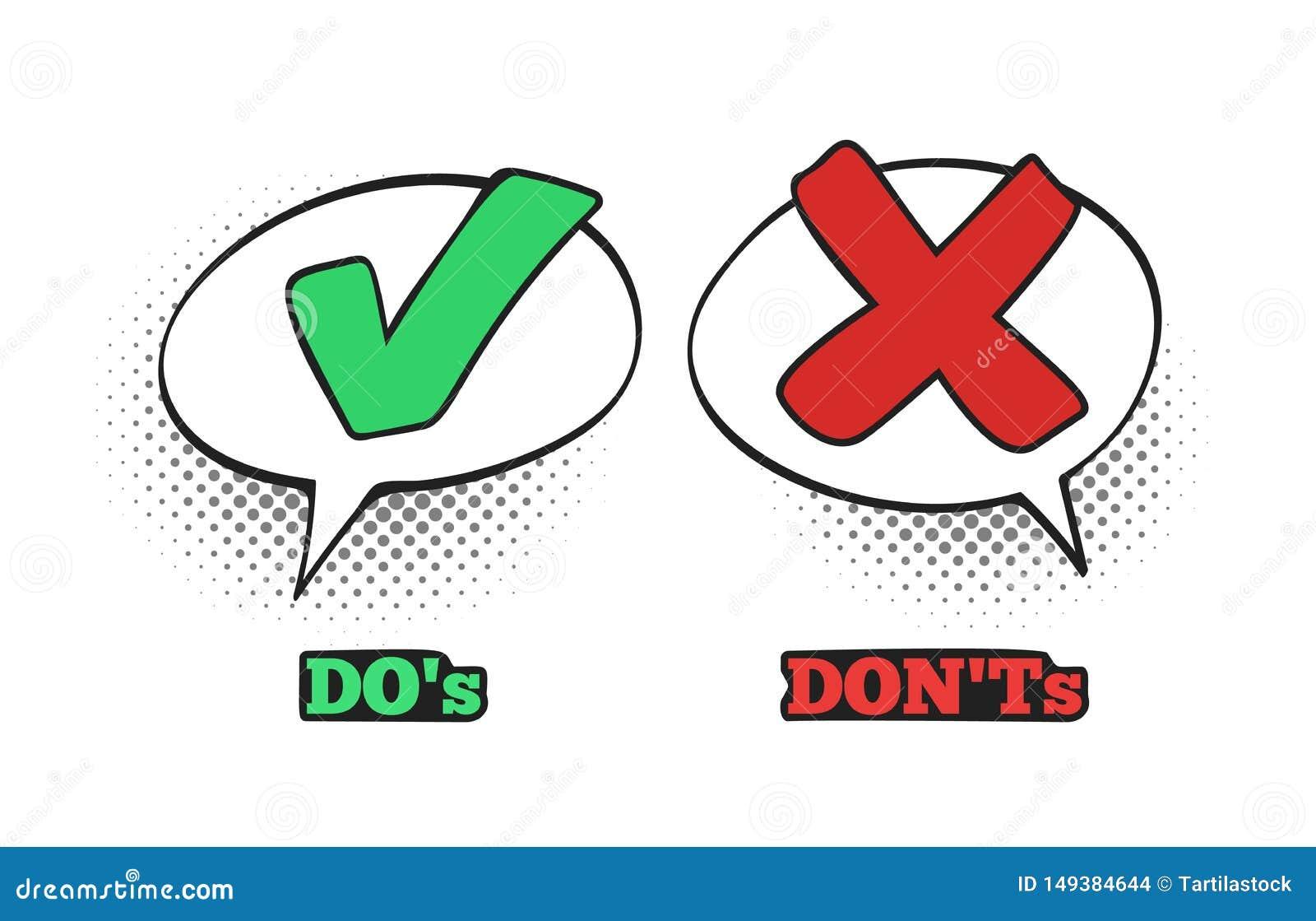 做并且做不可笑的标志 好校验标志、没有对话云彩箱子和红十字漫画标志传染媒介例证