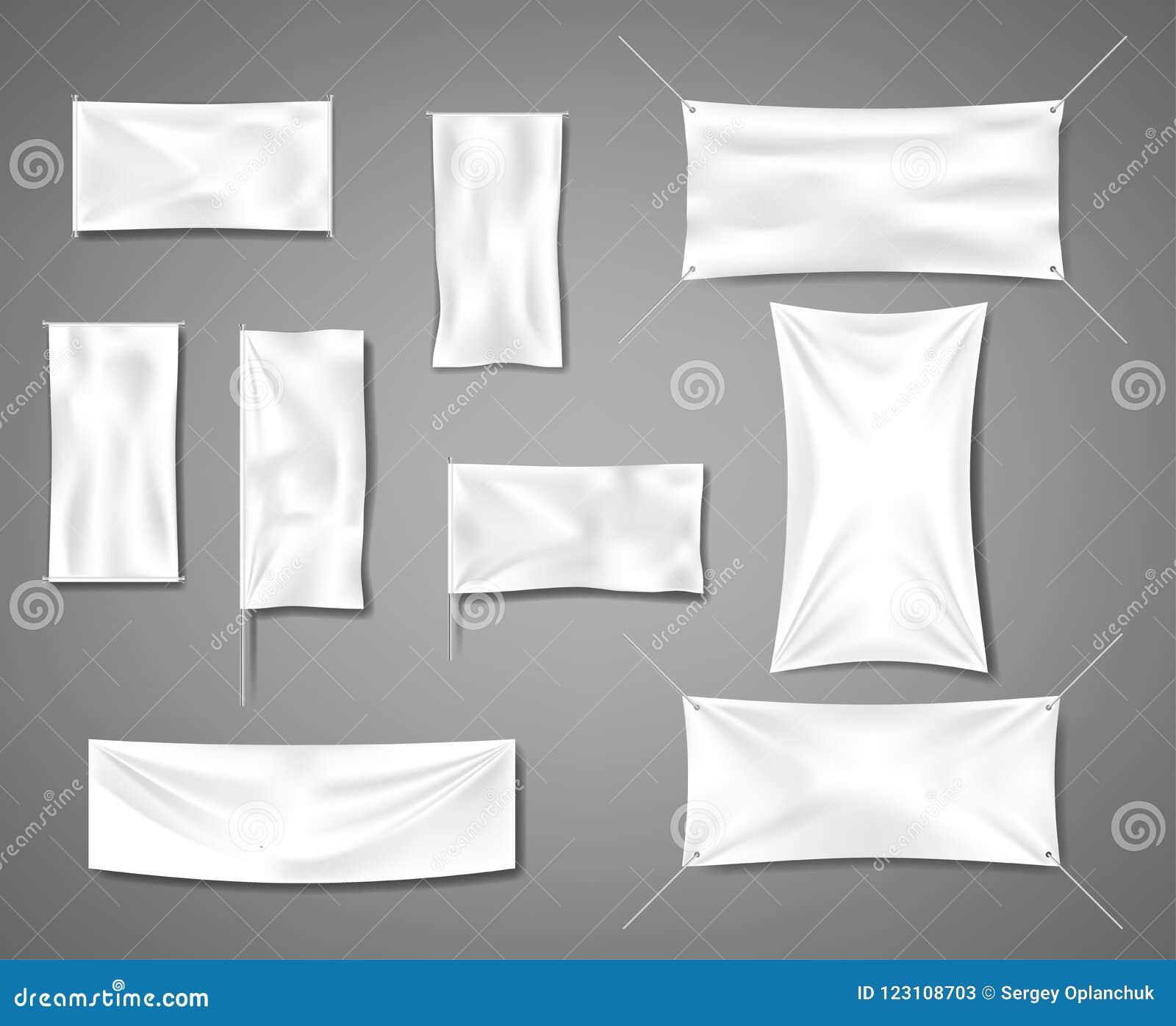 做广告的白色织品空白纺织品横幅与折叠 被设置的棉花空的光滑的旗子海报或招贴模板