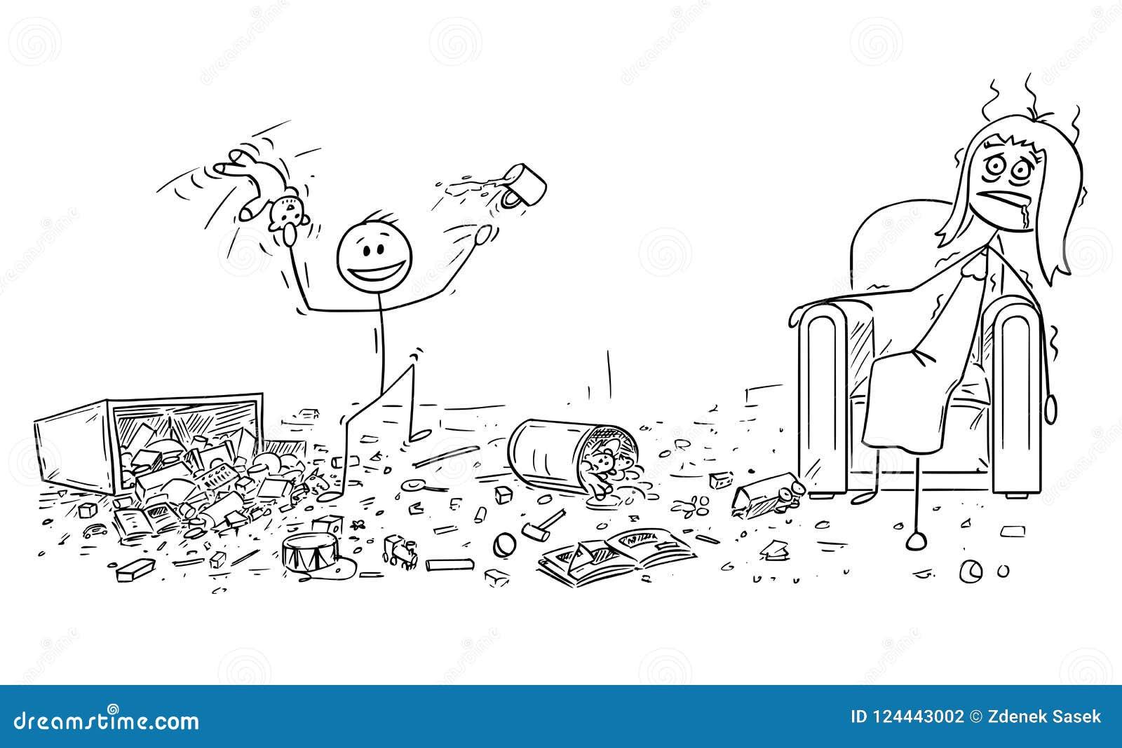 做混乱的淘气小男孩动画片,被用尽的母亲在扶手椅子坐