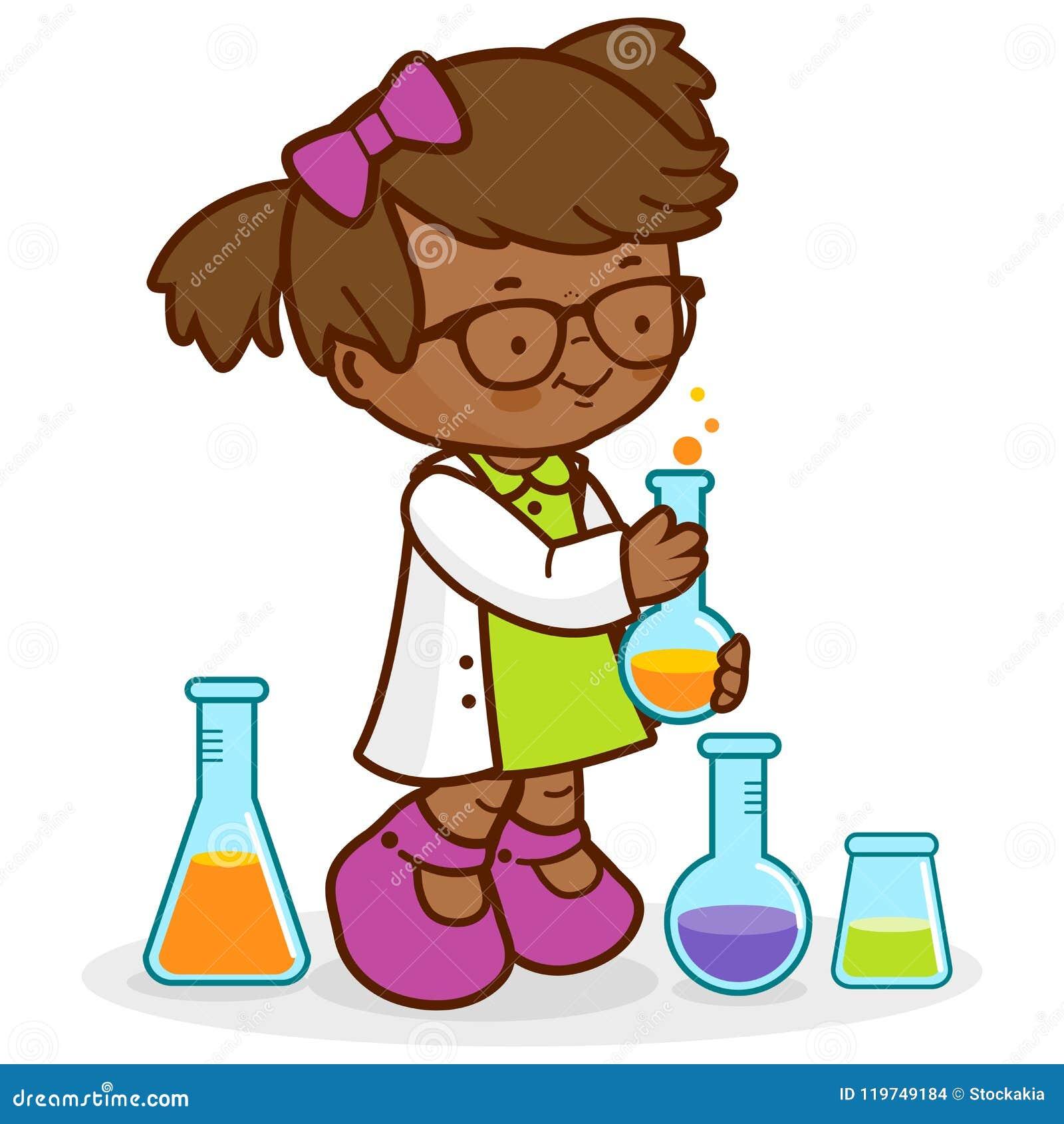 做科学实验的女孩