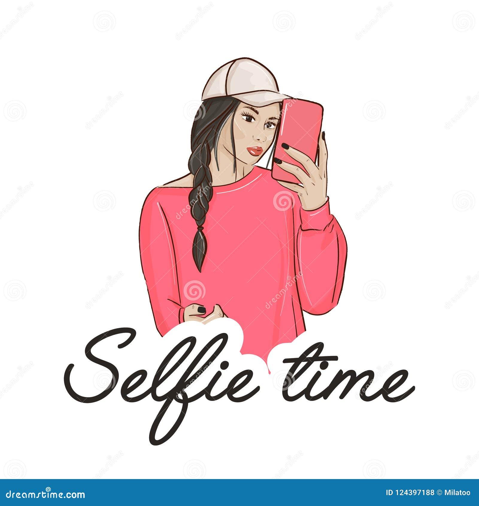做selfie的少妇 有做照片的照相机的偶然生活方式女孩 逗人喜爱的城市字符设计 简单现代