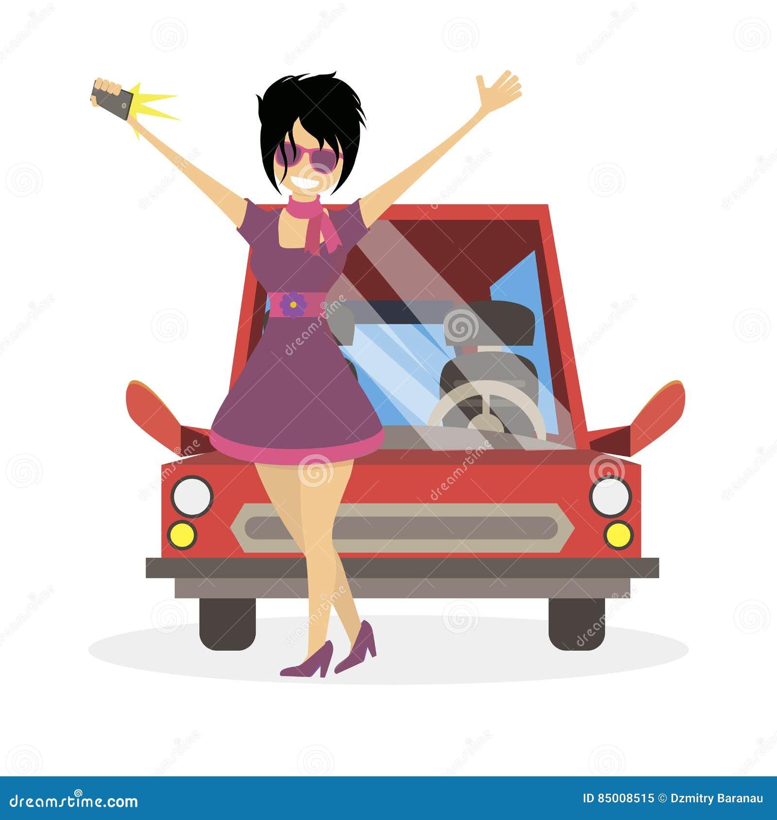 做selfie的社交名流fashionista女孩在汽车附近 妇女clubber 字符传染媒介平的例证人民