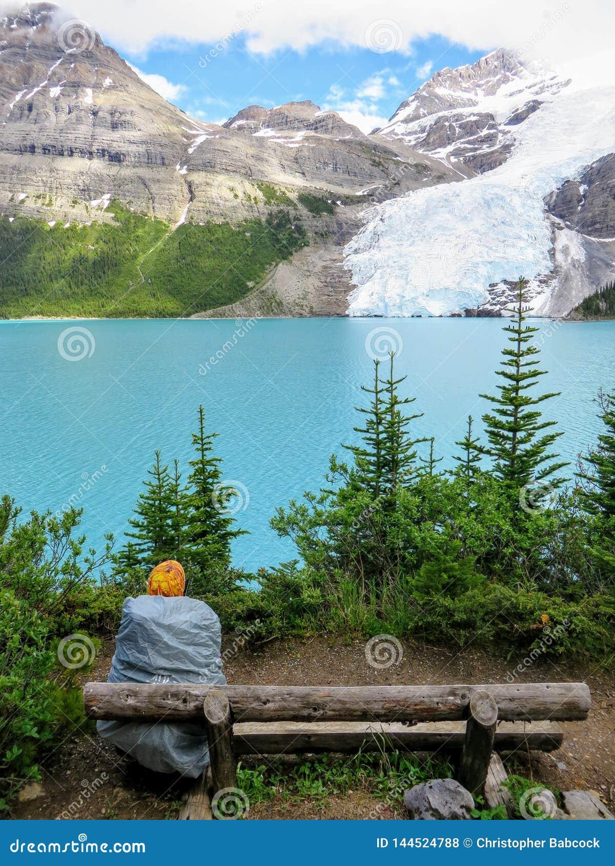 停止了敬佩湖和冰川的美好和难以置信的看法的一个年轻女性徒步旅行者沿一条供徒步旅行的小道