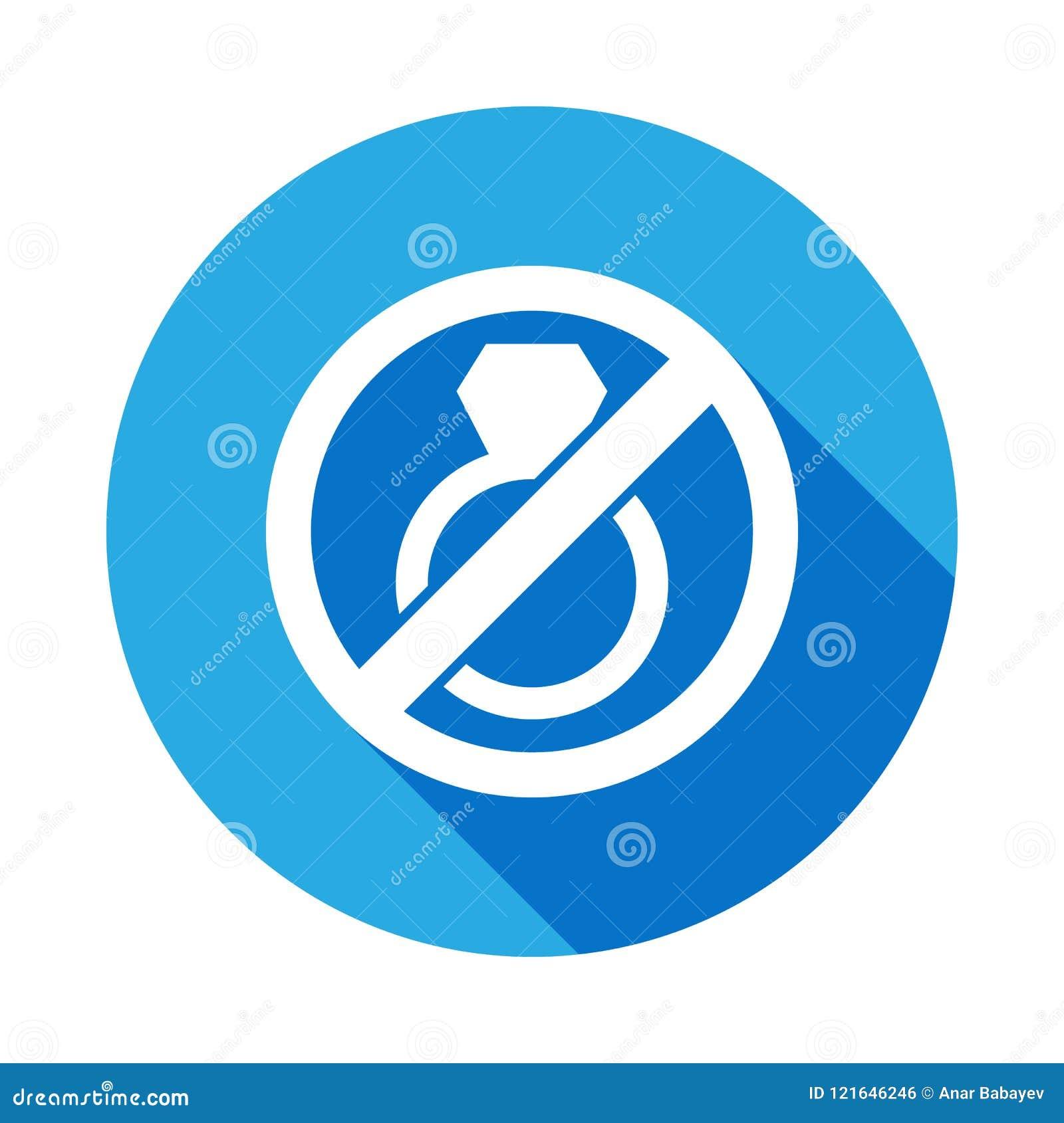 停止或取缔婚姻,与长的阴影的被禁止的标志平的象