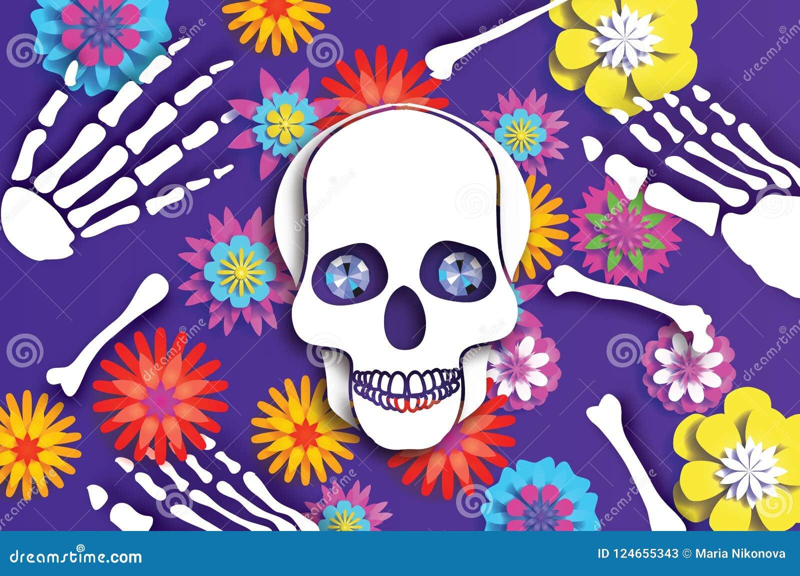 停止的日 纸墨西哥庆祝的裁减头骨 传统墨西哥骨骼 蓝色金刚石眼睛 de dia muertos